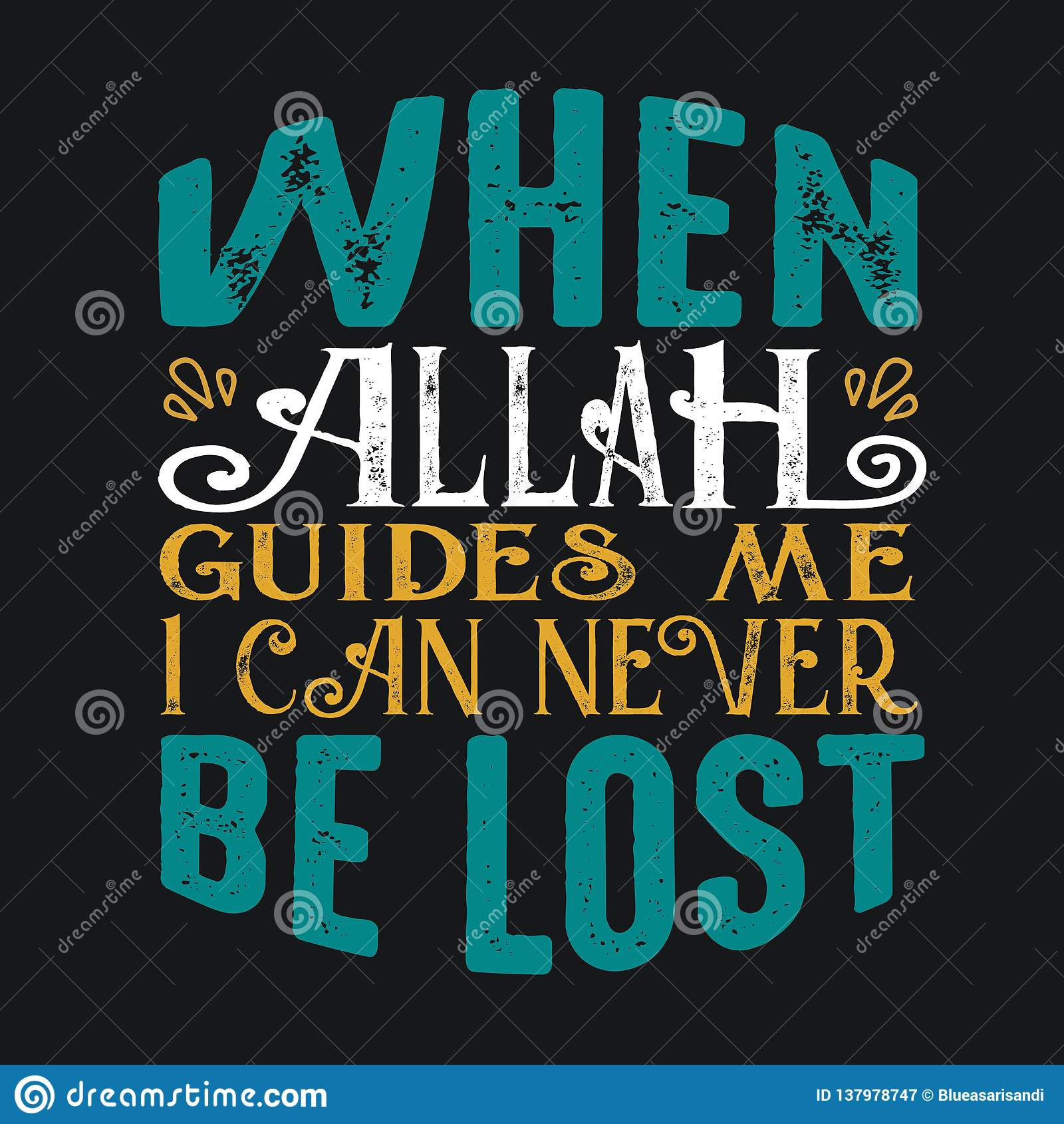 Muslim Quote And Saying Good For Print Stock Illustration