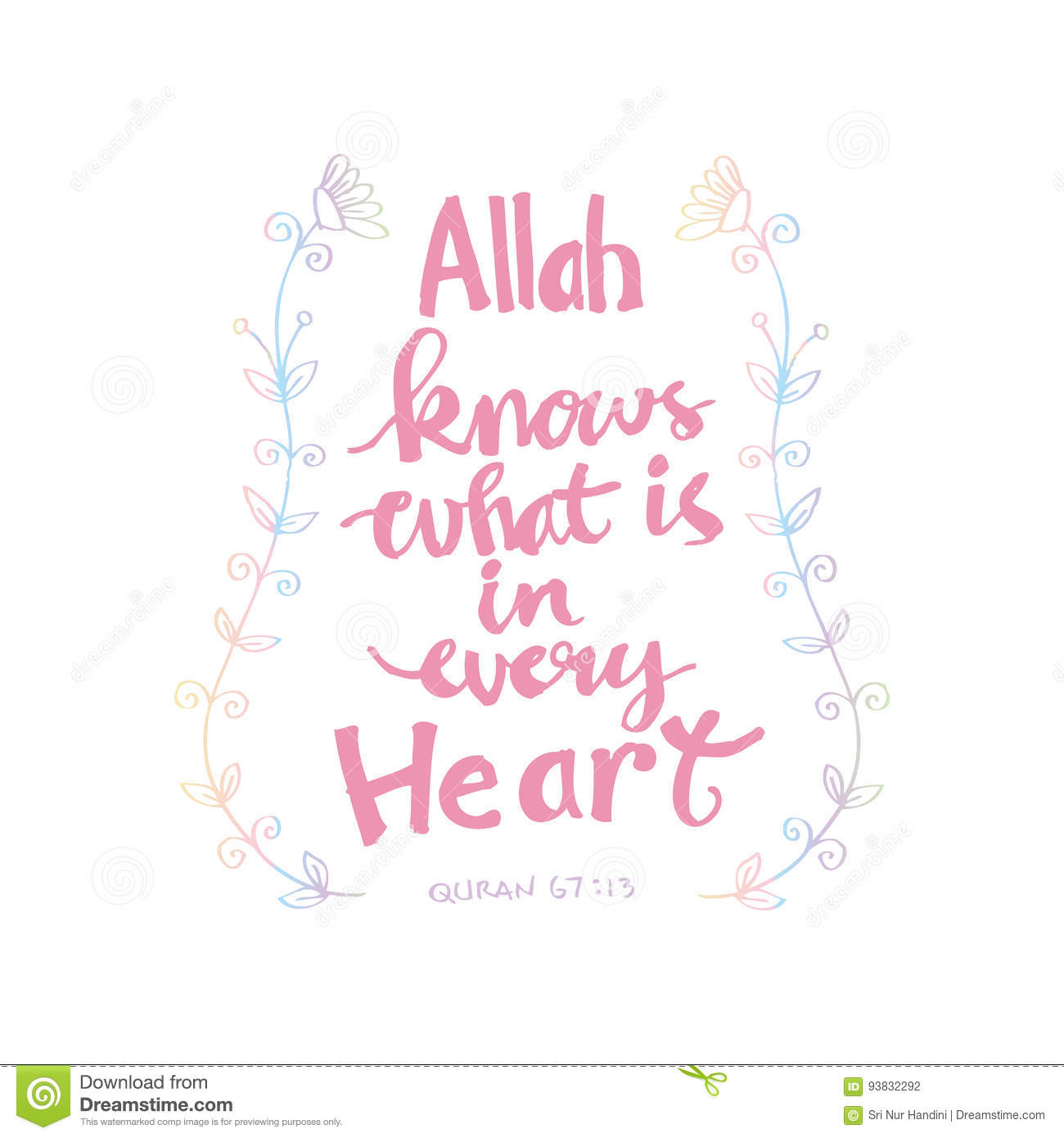 Allah Knows What Is In Every Heart Islamic Quran Quotes Stock