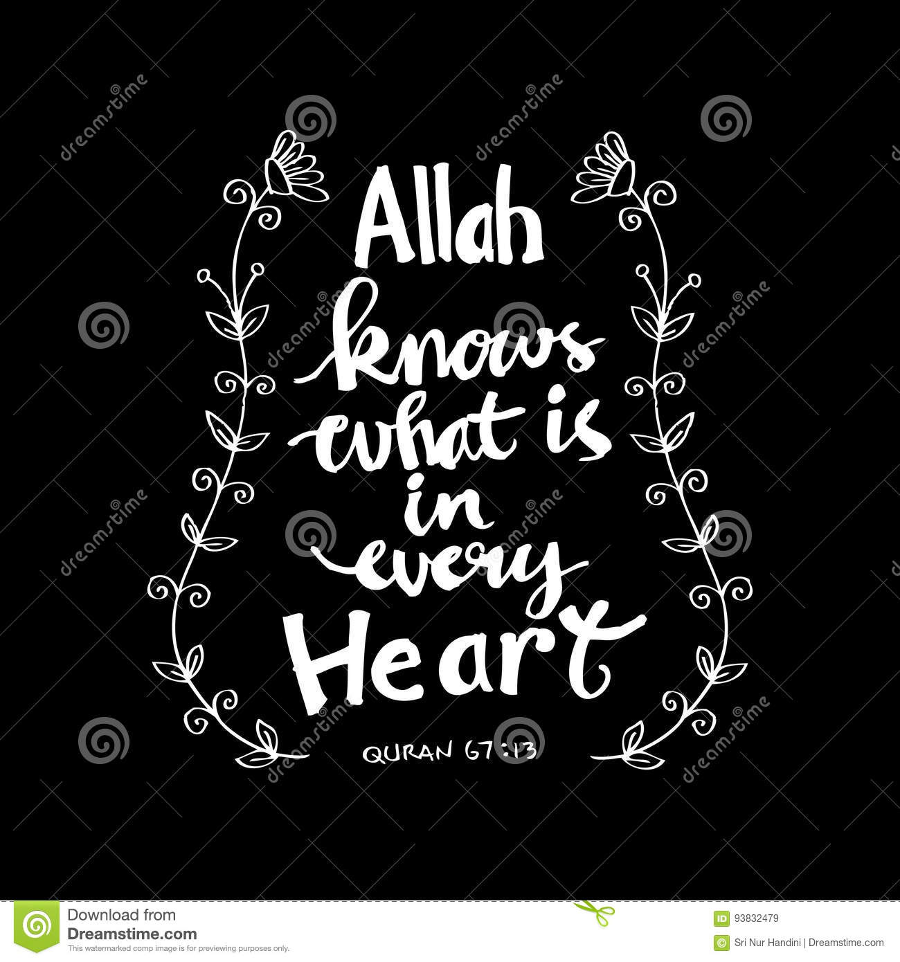 Quotes Quran Allah Knows What Is In Every Heartislamic Quran Quotes Stock