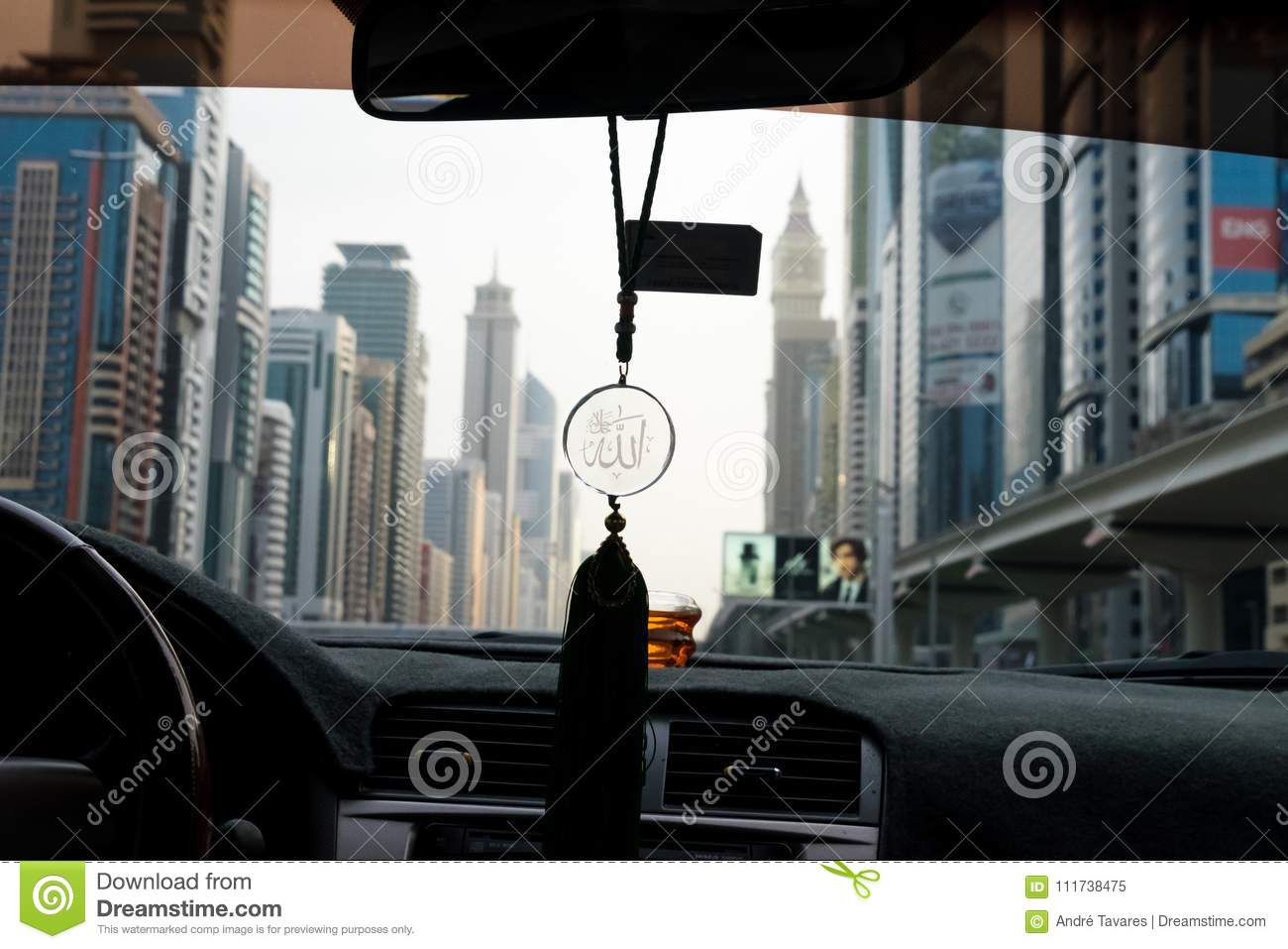 Allah Symbol Hanging In A Car In Dubai Stock Illustration