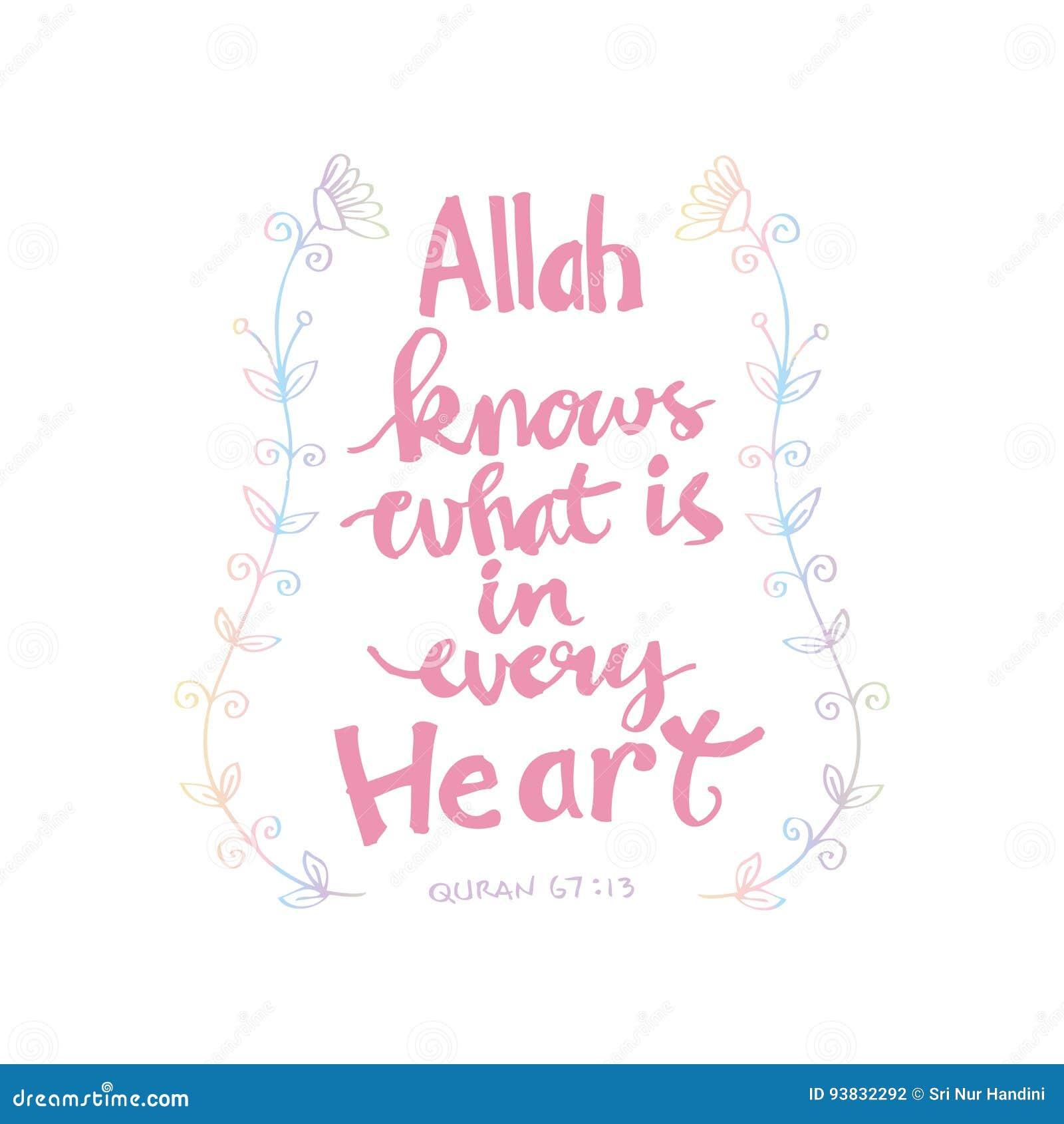 Citaten Quran : Allah weet wat in elk hart is islamitische quran citaten
