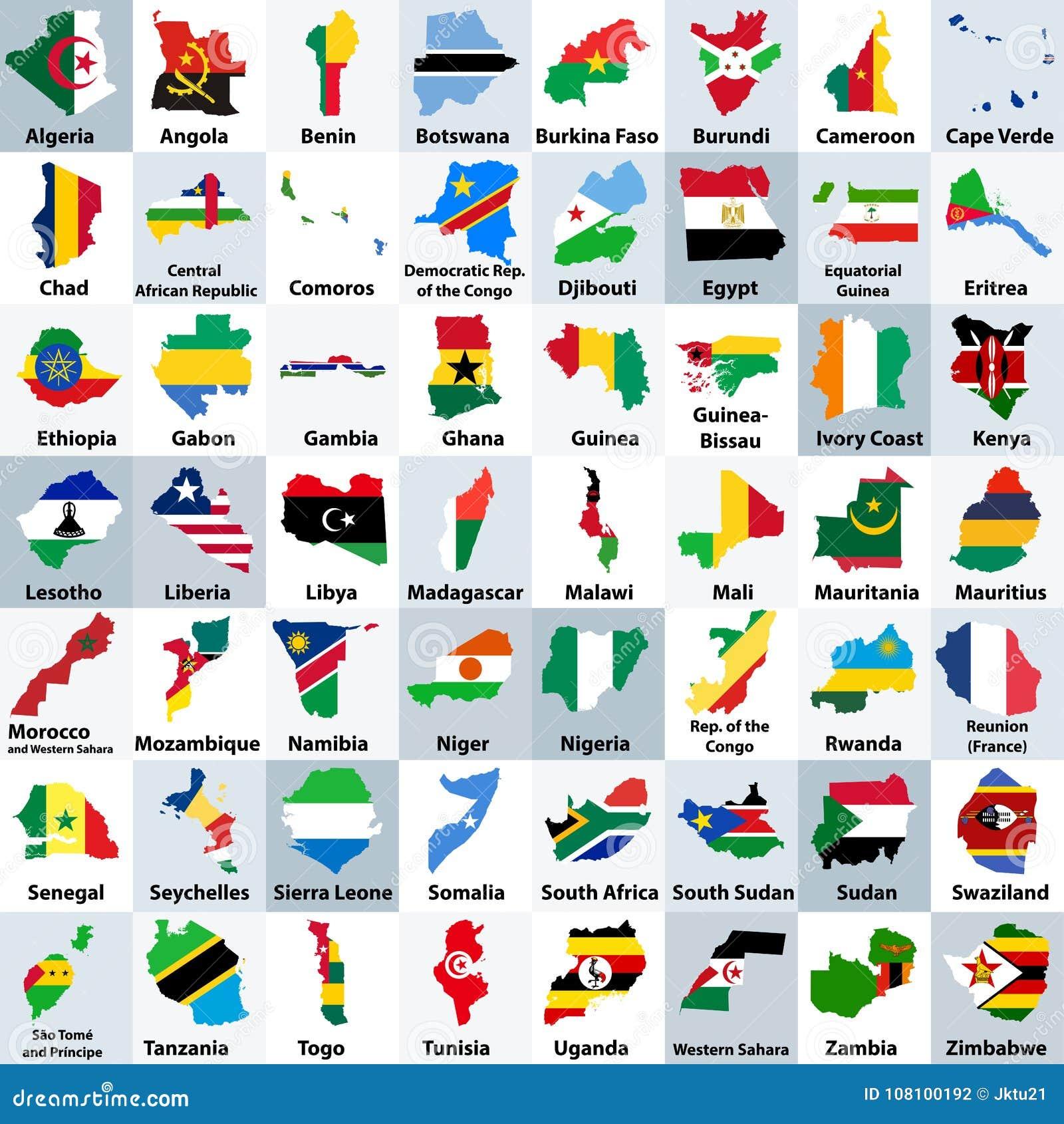 Alle Karten der afrikanischen Länder mischten mit ihren Staatsflaggen und vereinbarten in alphabetischer Reihenfolge