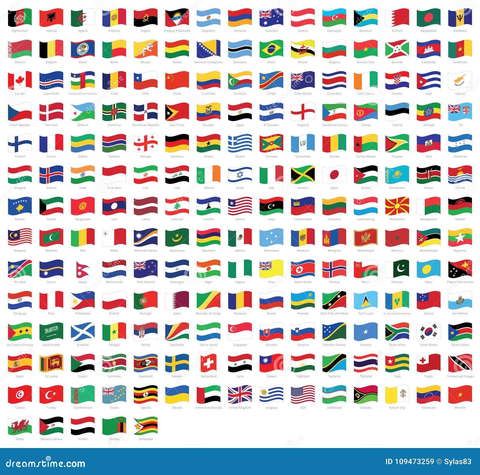 Alle Nationale Weltwellenartig Bewegenden Flaggen Mit Namen