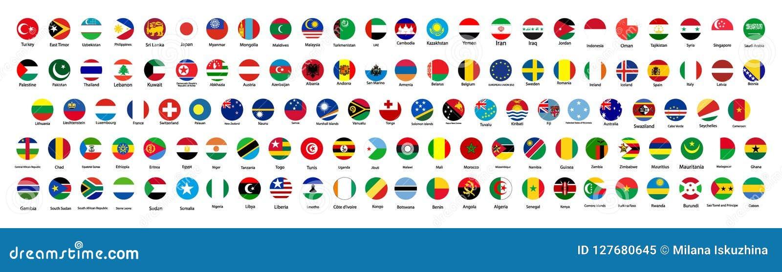 Alle officiële nationale vlaggen van de wereld Cirkelontwerp