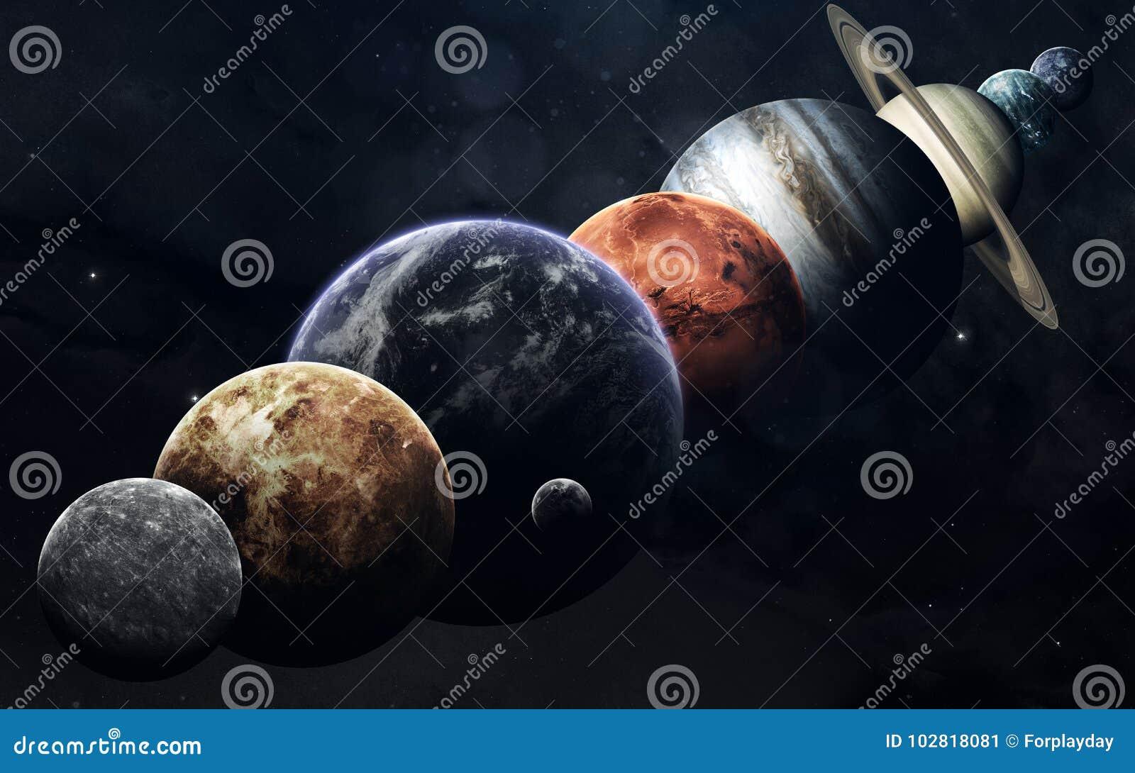 Alle planeten van zonnestelsel op de ruimteachtergrond Onderwijsbeeld Elementen van dit die beeld door NASA wordt geleverd
