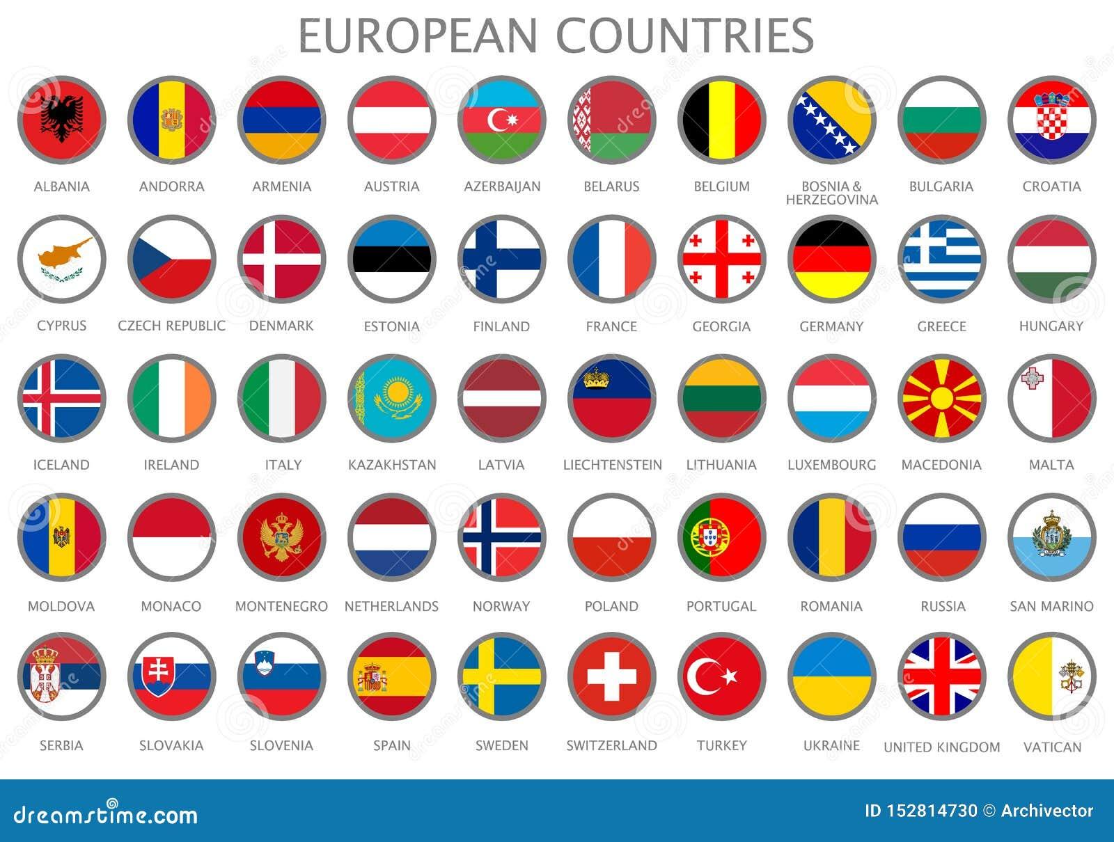 Alle Staatsflaggen der europäischen Länder