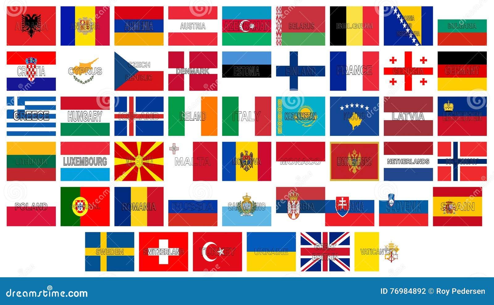 Spiksplinternieuw Alle Vlaggen van Europa stock illustratie. Illustratie bestaande JP-92