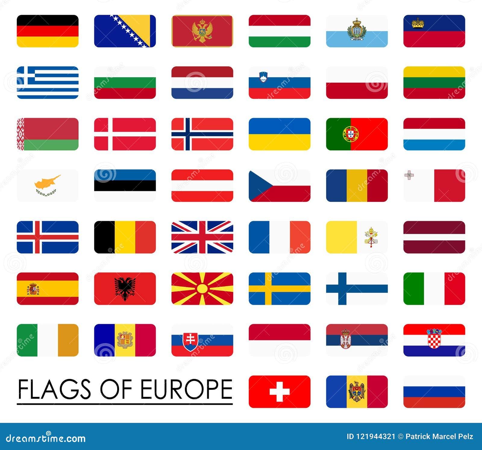 Hedendaags Alle Vlaggen Van Het Land Van Europa Vector Illustratie SW-71