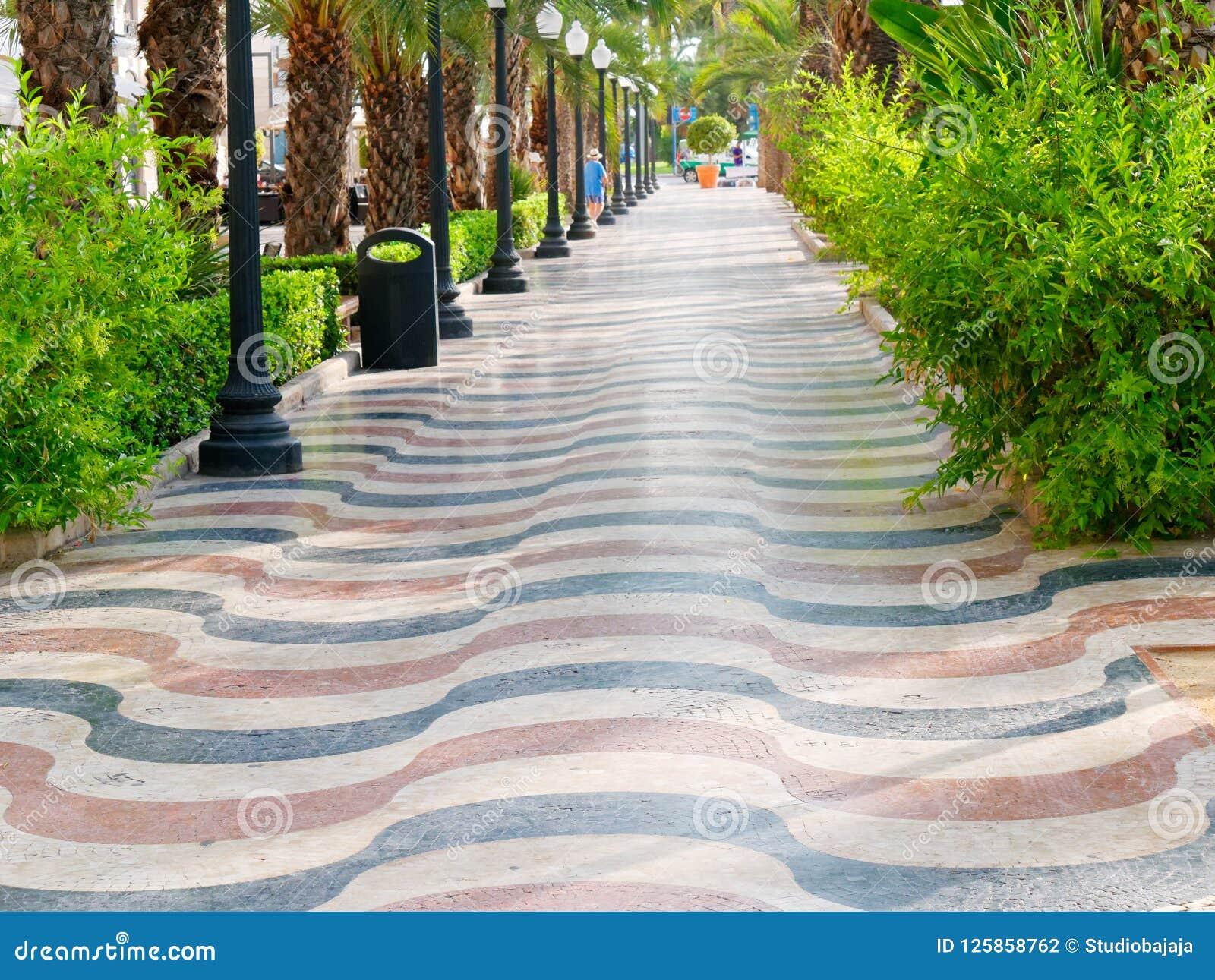 Allee von Palmen in Alicante Hauptpromenade für Touristen Explanada spanien