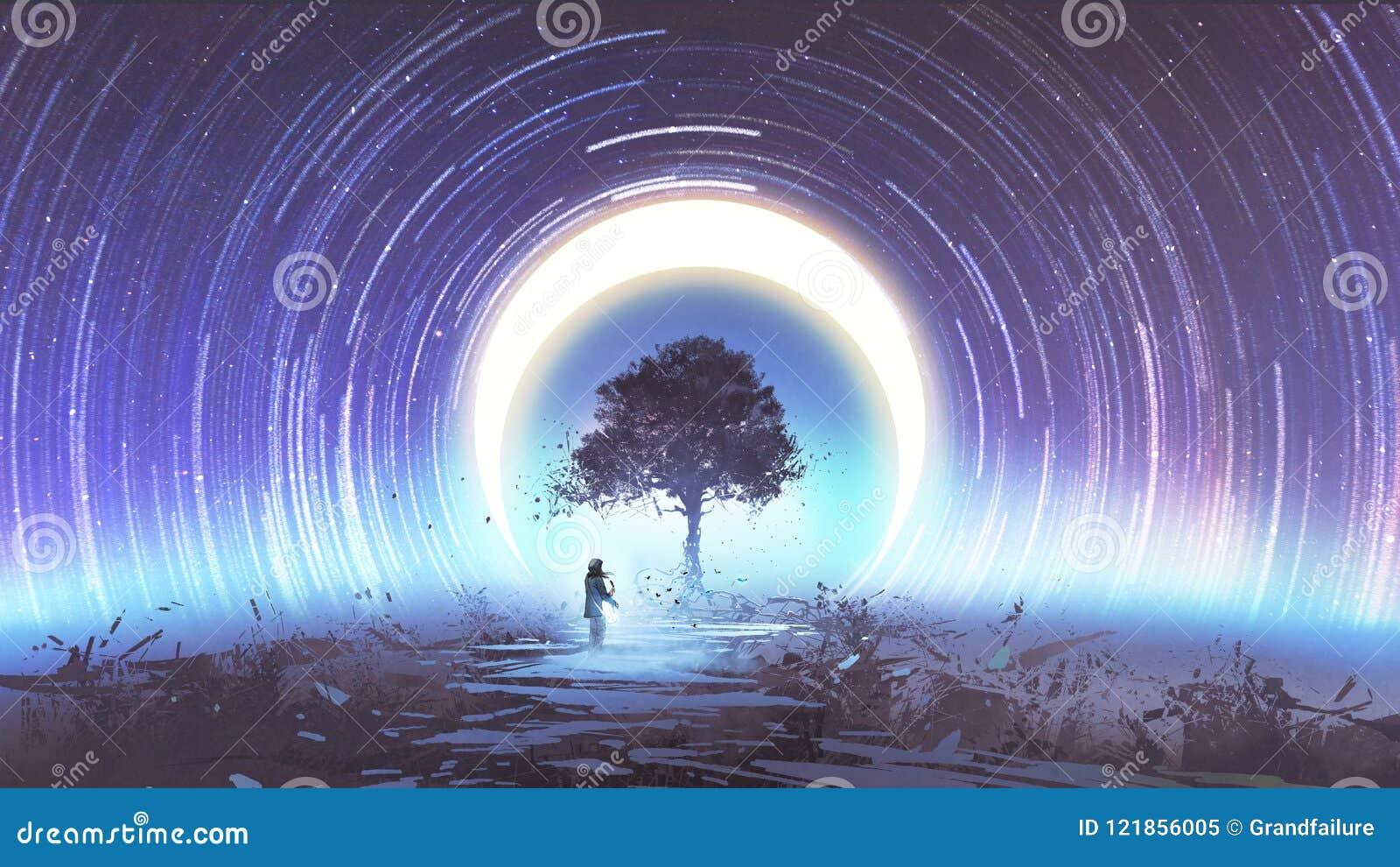Alleen boom in kosmische ruimte
