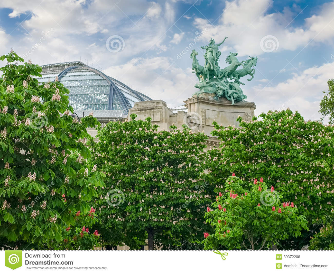 Allegorical statue and vaulted roof of Great Palace in Paris