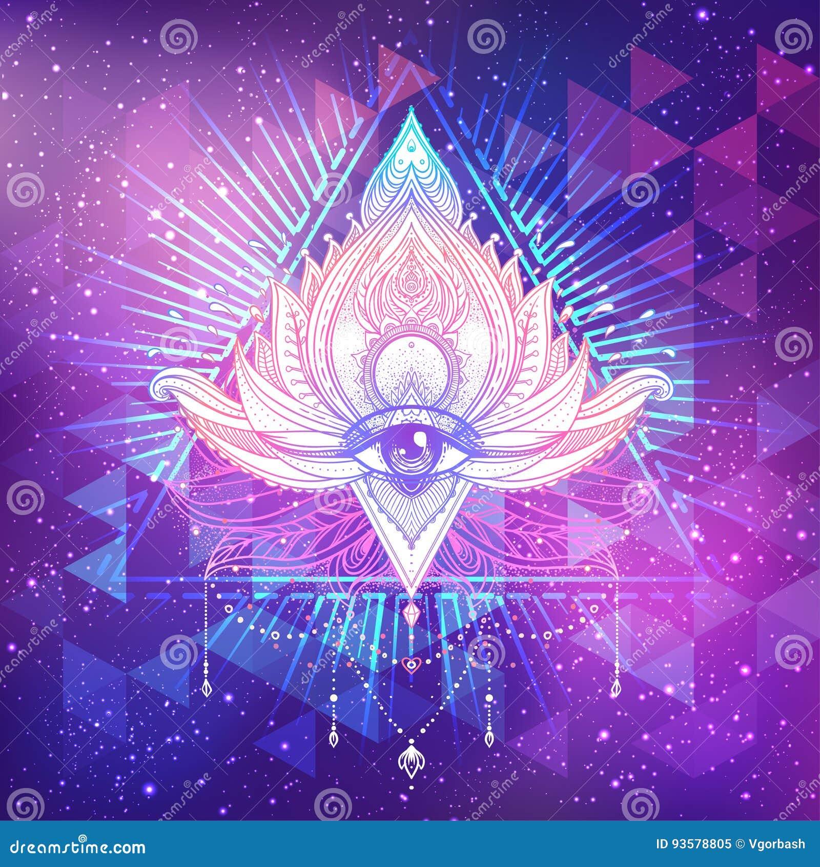 Allen die oog in bloem van lotusbloem de vector sierlotus, etnische a zien