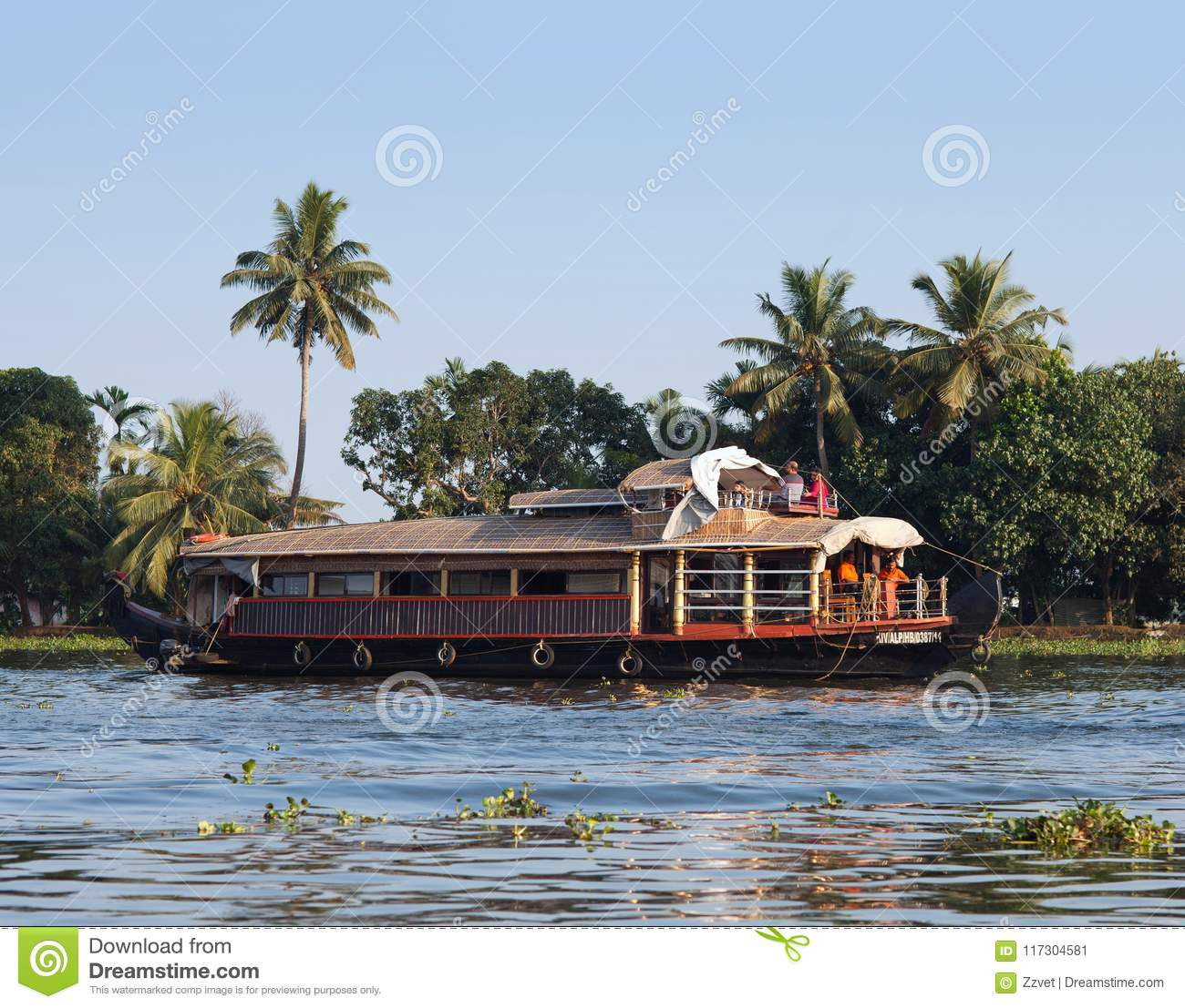 Houseboat On Backwaters In Kerala, South India Editorial