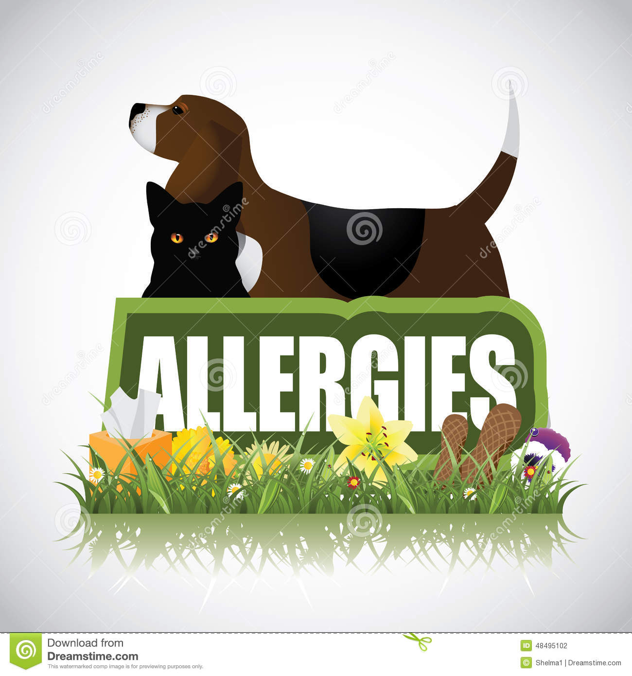 allergies icon with dog cat plants peanuts stock vector image 48495102. Black Bedroom Furniture Sets. Home Design Ideas