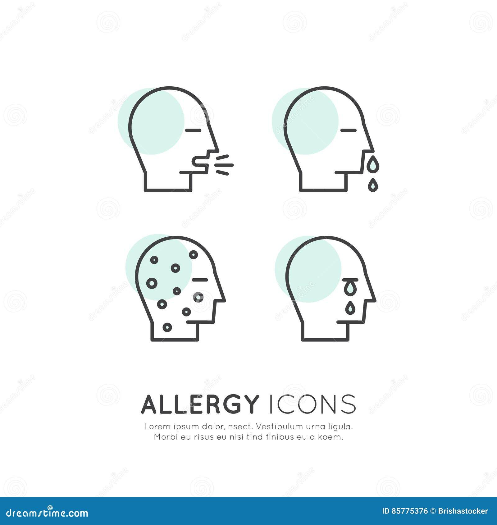 Allergin, mat och den älsklings- intolerans-, hudreaktions-, ögon- och nässjukdomen för hemhjälp, rengöringsduksymboler isolerade