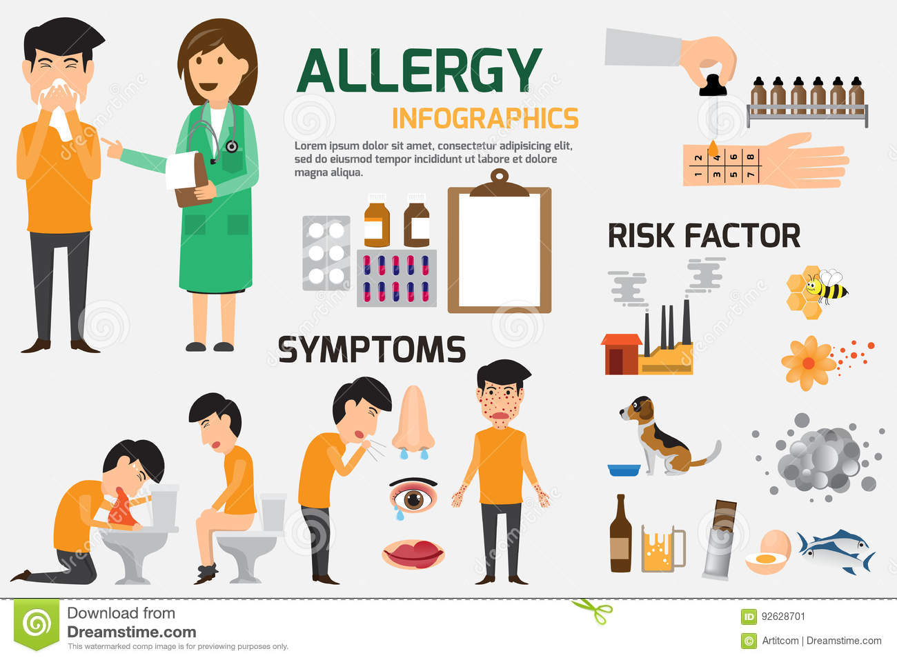 Allergy Infographic Set. Content graphics of symptoms and prevention allergy disease. health and medical concept vector