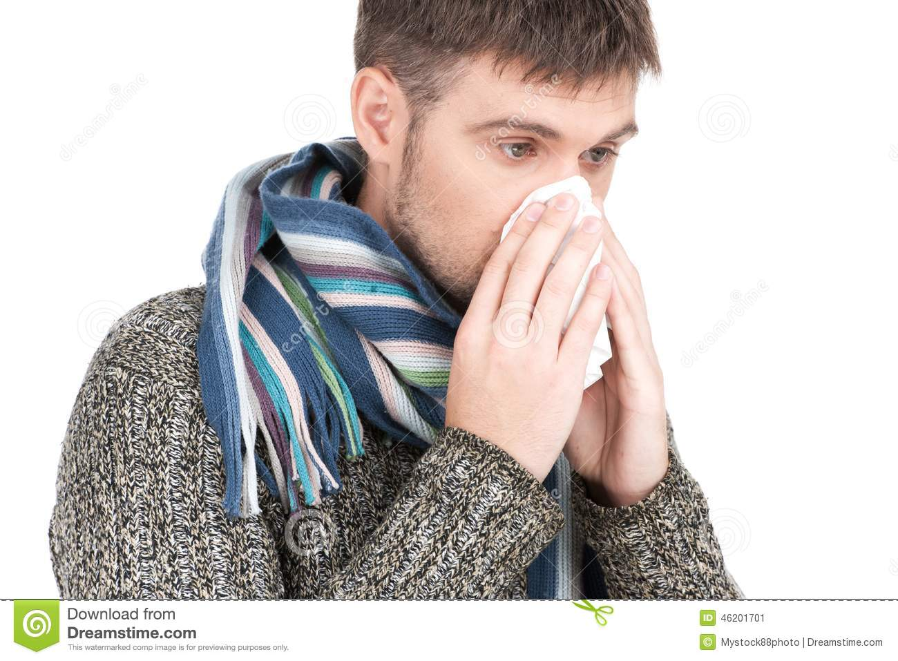 Allergy Man Blowing His Nose In Tissue Paper. Stock Photo ...