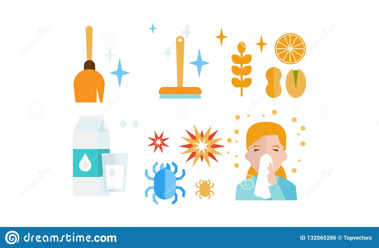 Allergy symptoms and treatment icons set, allergic reaction to dust, food, dairy products, insects, allergic rhinitis