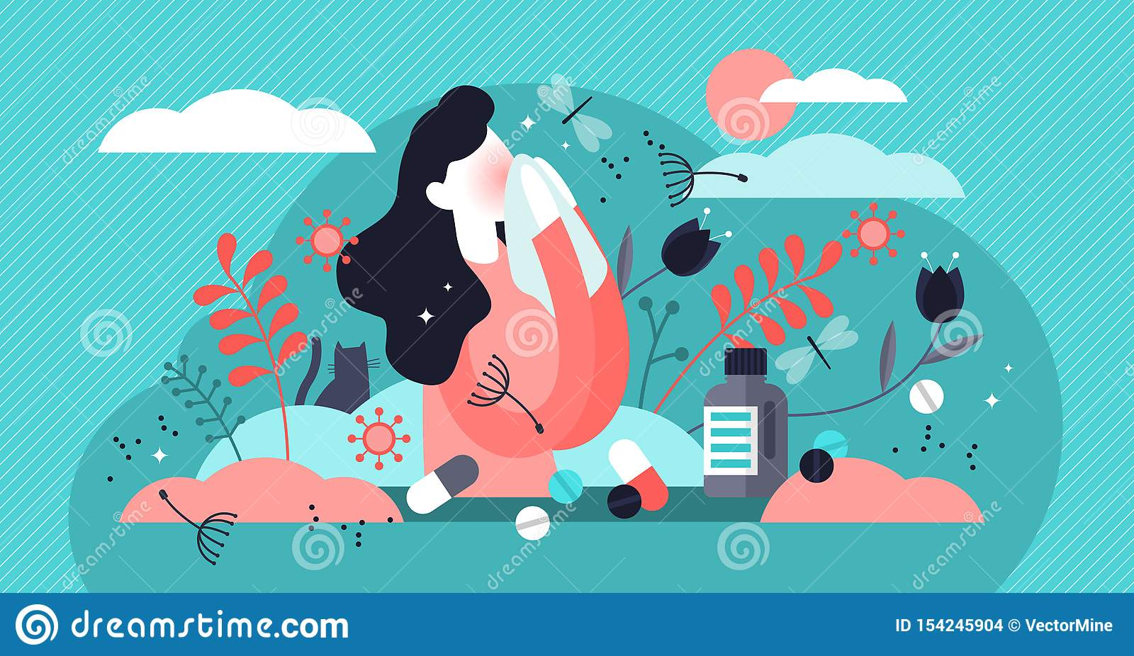 Allergy vector illustration. Tiny dust asthmatic intolerance person concept