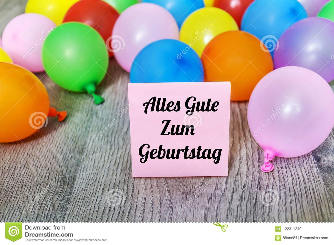 Alles Gute Zum Geburtstag Card With Balloons Stock Photo Image Of
