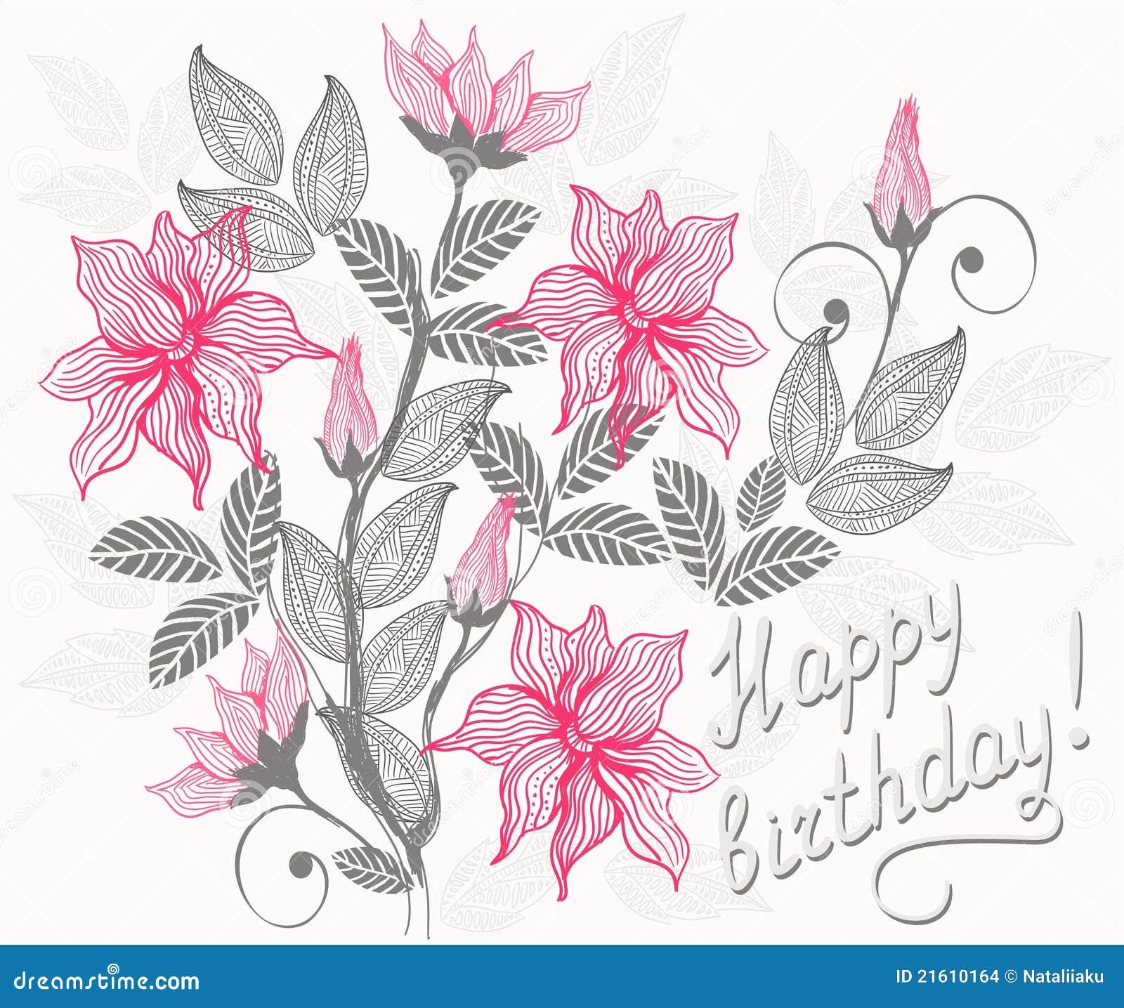 Royalty Free. Download Alles Gute Zum Geburtstag Der Blumenkarte ...