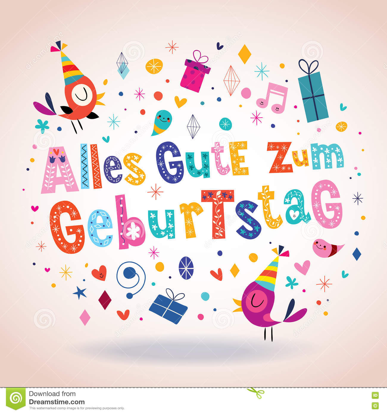 Alles Gute Zum Geburtstag Deutsch German Happy Birthday Greeting Card