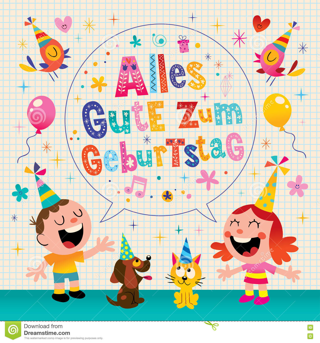 Alles Gute Zum Geburtstag Deutsch German Happy Birthday Greeting Card With Little Boy And Girl Pets Puppy Kitten