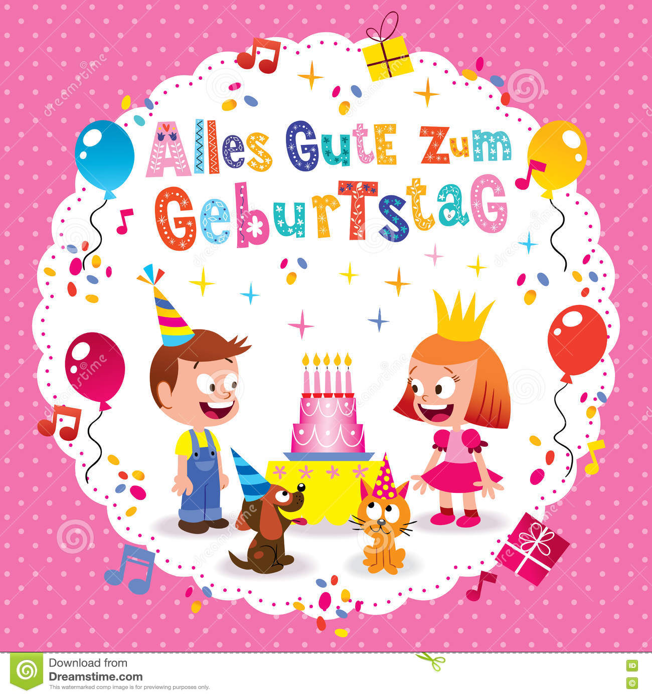 Alles Gute Zum Geburtstag Deutsch German Happy Birthday Greeting Card With Little Boy And Girl Puppy Kitten