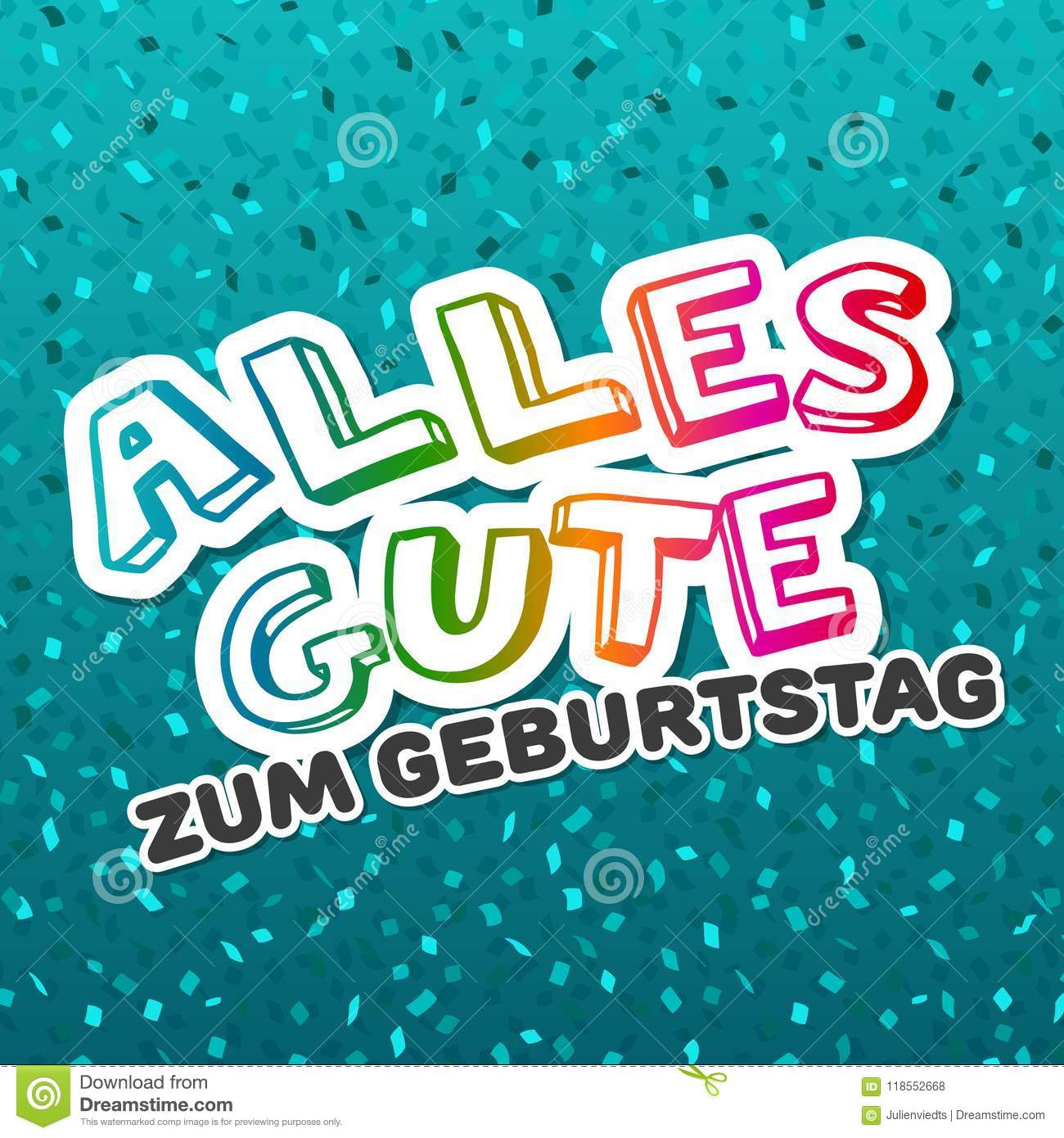 Alles Gute Zum Geburtstag Happy Birthday Card Vector Stock Vector