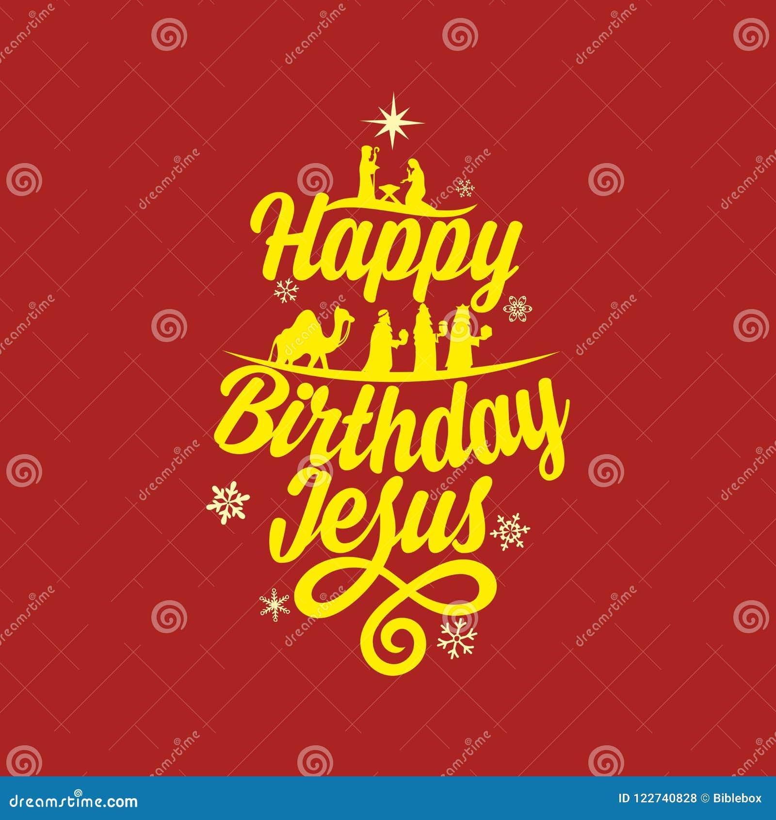 Frohe Weihnachten Männer Bilder.Alles Gute Zum Geburtstag Jesus Frohe Weihnachten Vektor Abbildung