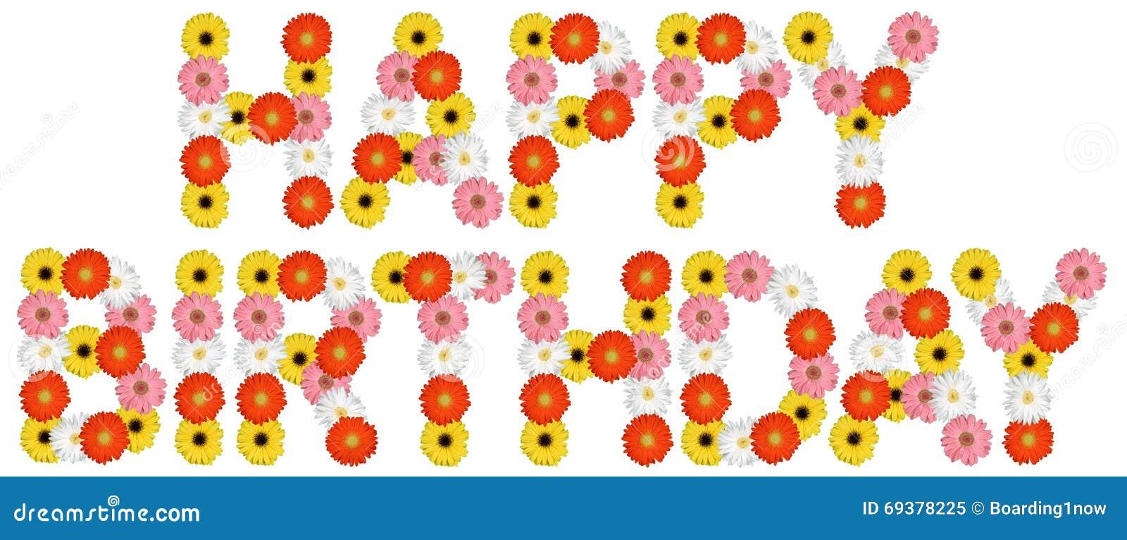 Alles Gute Zum Geburtstag Mit Blumen Bluhen Die Natur Die Auf Weiss