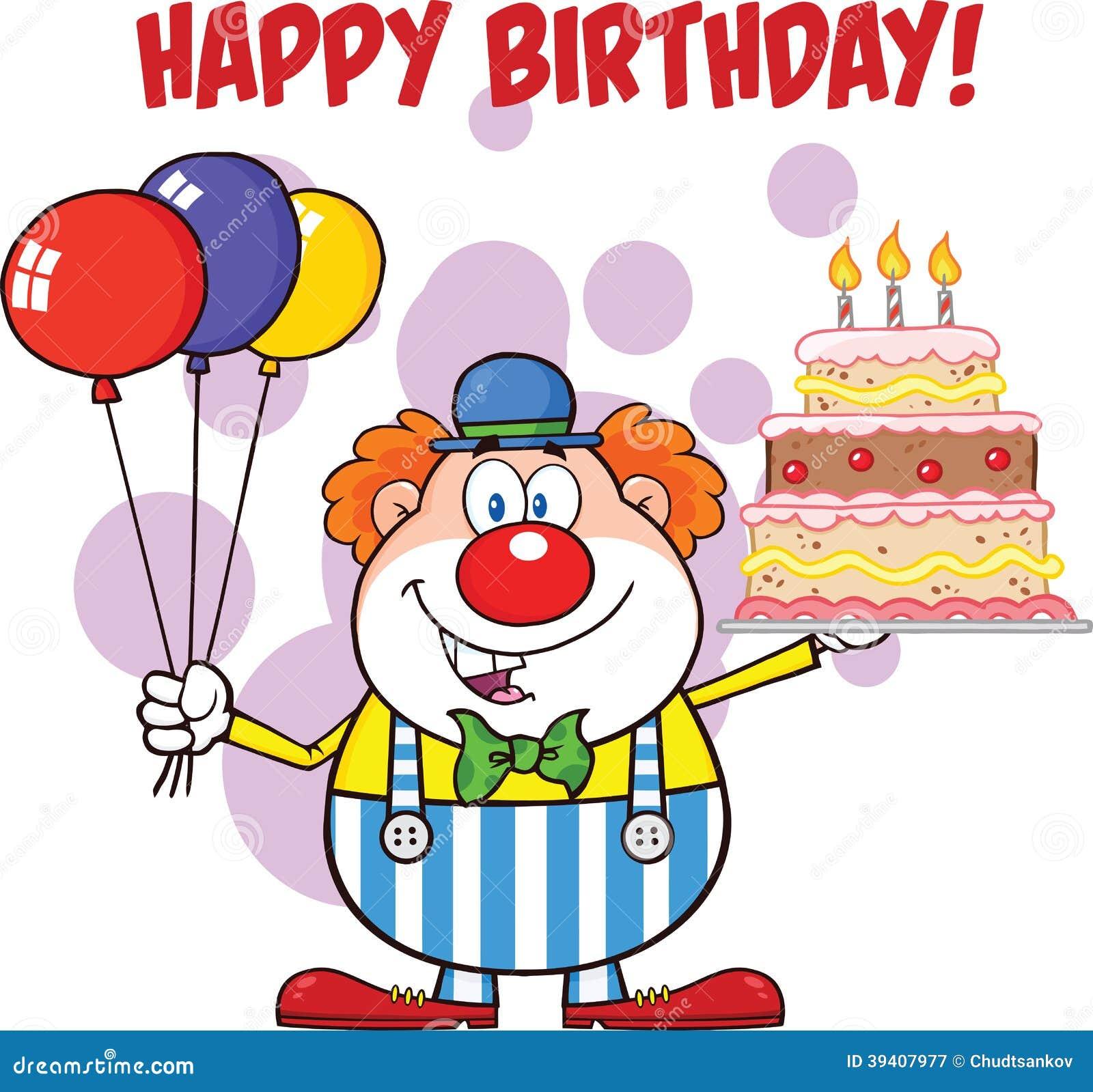 Alles gute zum geburtstag mit clown cartoon character with for Gute und gunstige kuchen