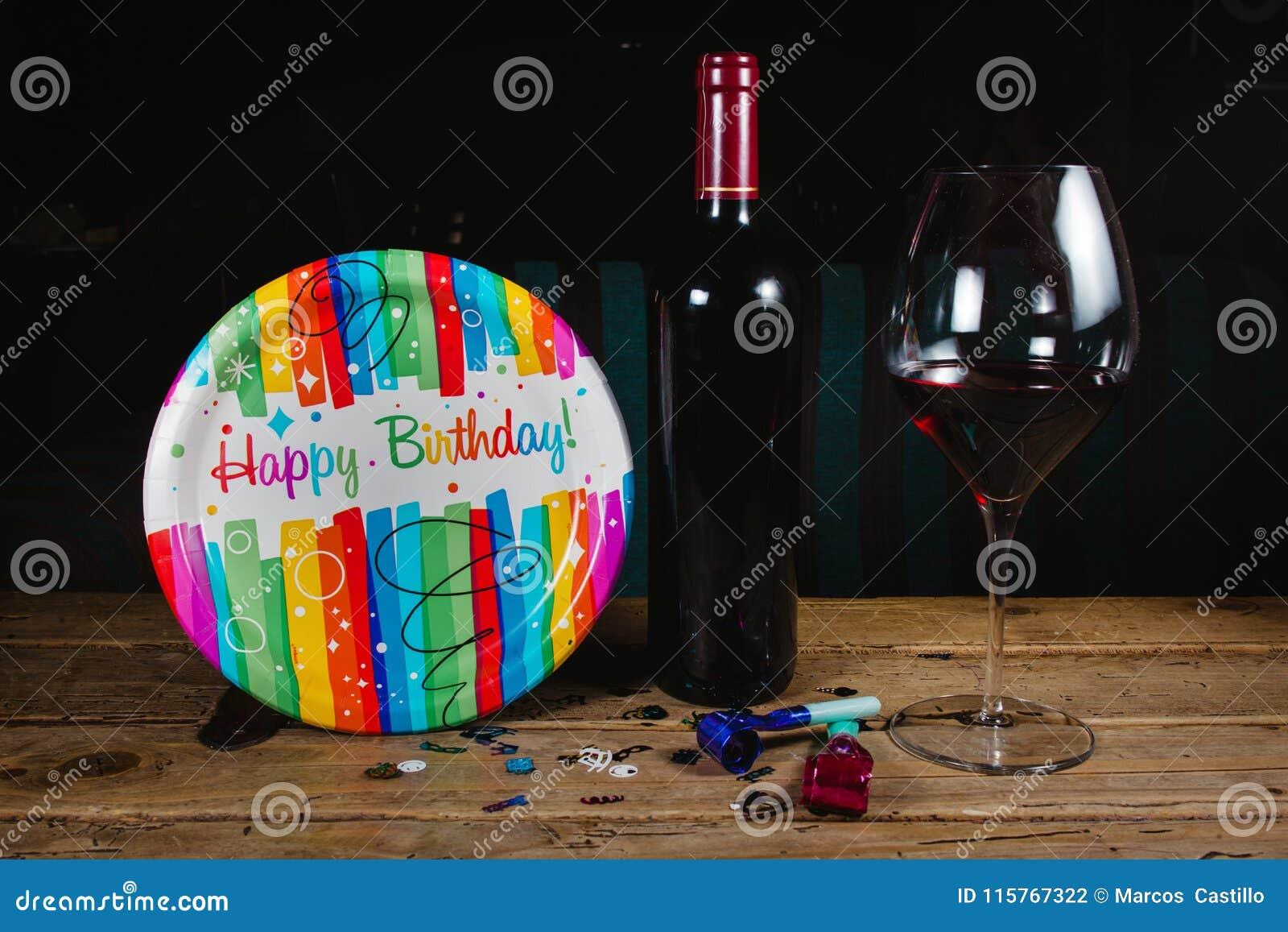 Alles Gute Zum Geburtstag Mit Wein Und Glas Parteifeier Stockfoto