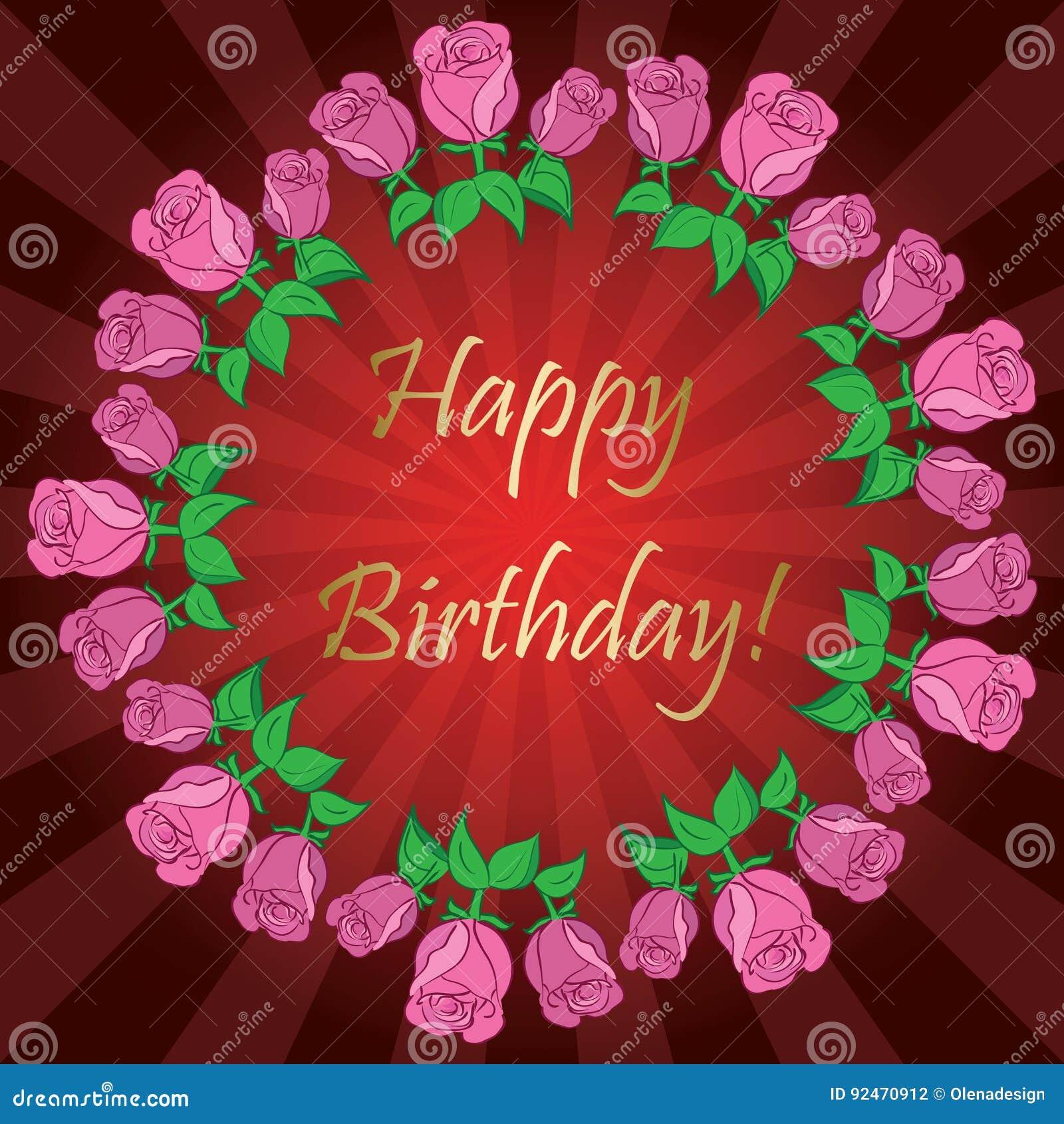 Alles Gute Zum Geburtstag - Roter Hintergrund Mit Strahlen Und ...