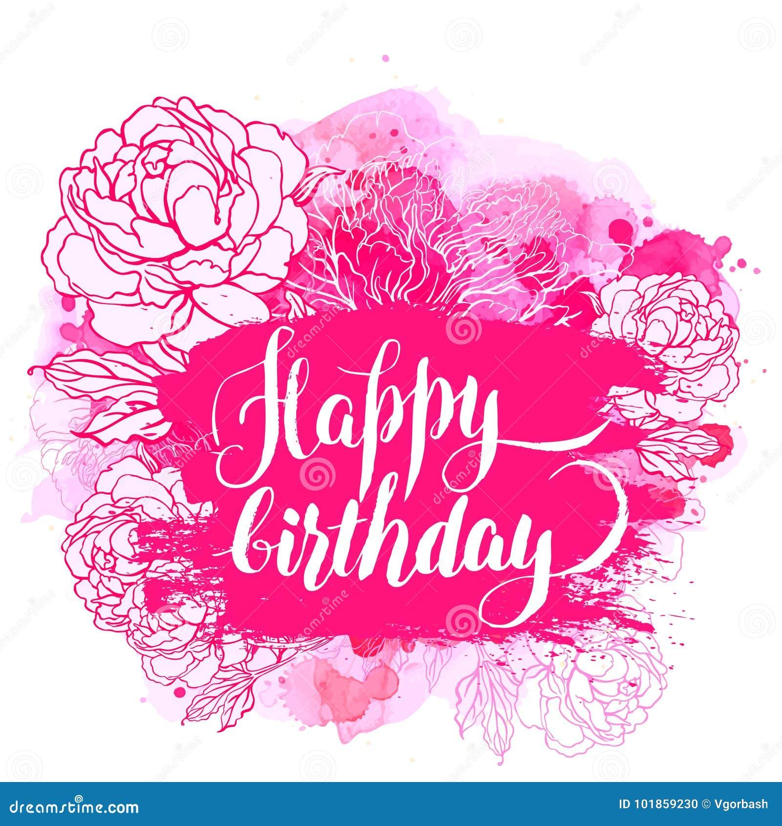 Alles Gute zum Geburtstag! Schönes Pfingstrosenblumenstraußdesign auf beige backgrou