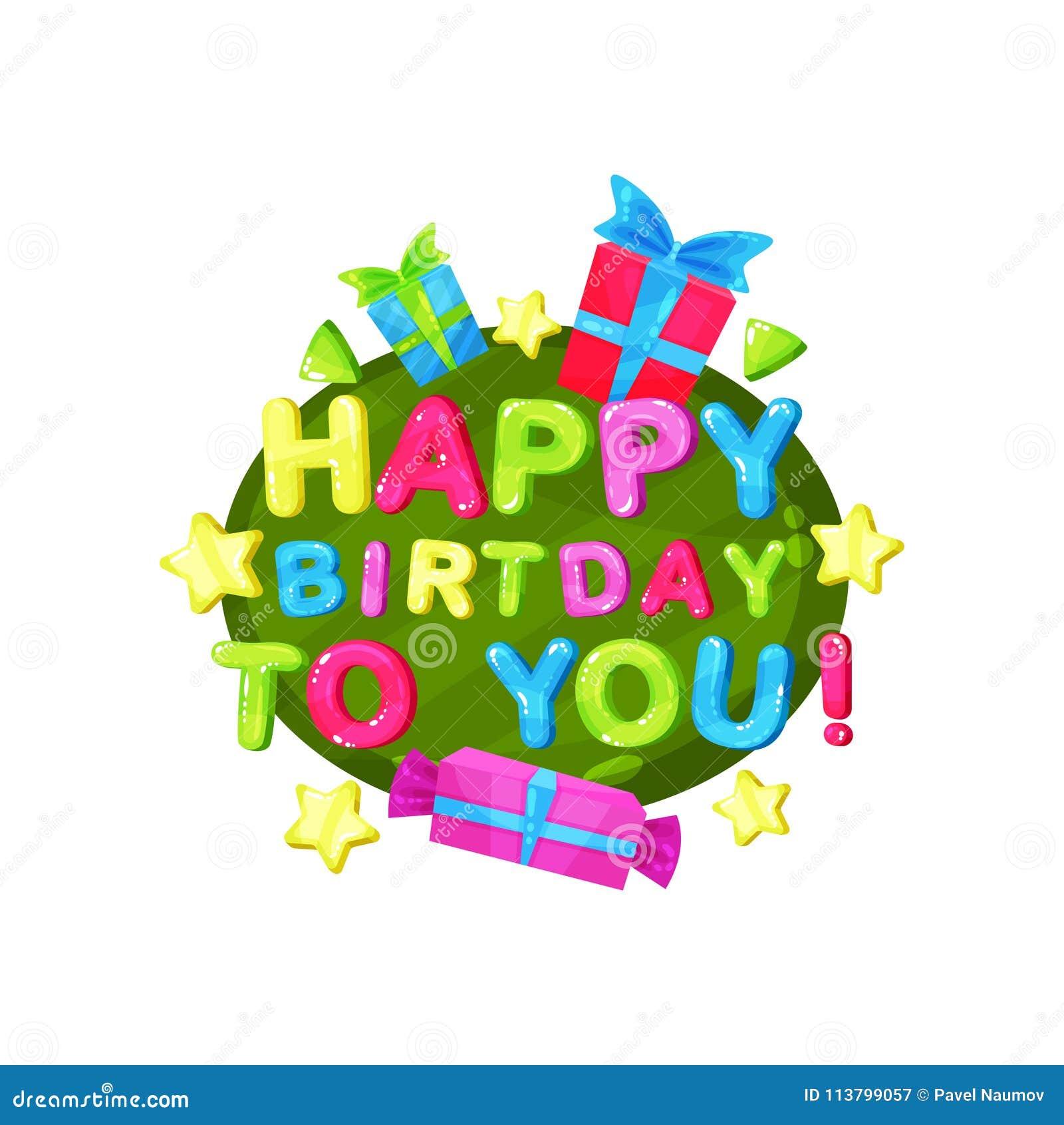 Alles Gute zum Geburtstag scherzt Logoschablone, Gestaltungselement für Einladung, Parteifahne, Kindergarten, den bunten Raum