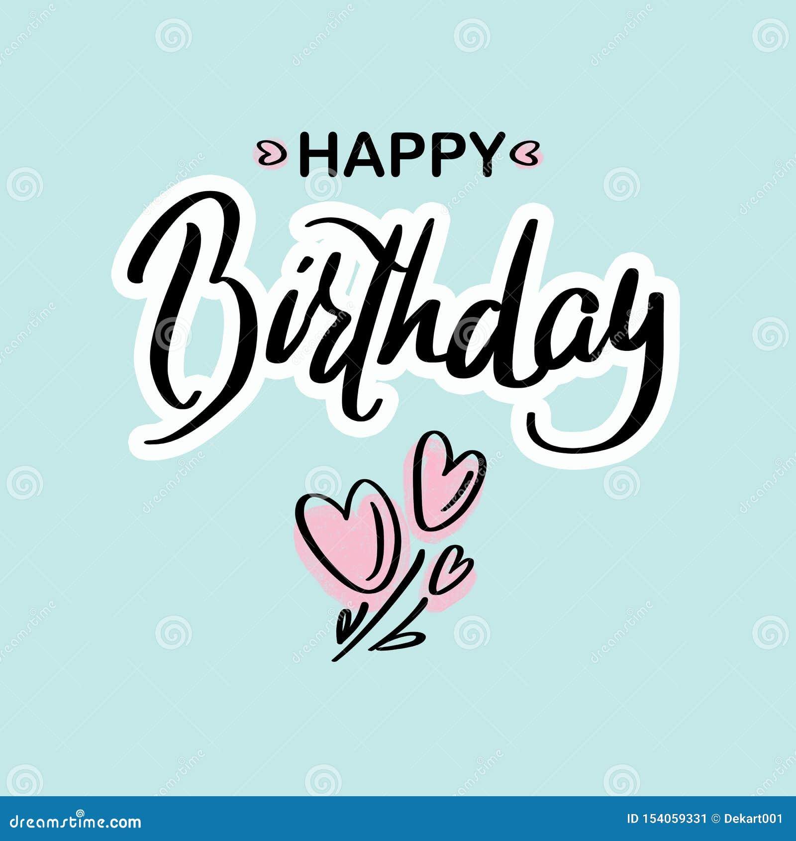 Alles Gute zum Geburtstag Schwarze Textbeschriftung der schönen Grußkarten-Kalligraphie mit rosa Herzen auf dem grünen Hintergrun
