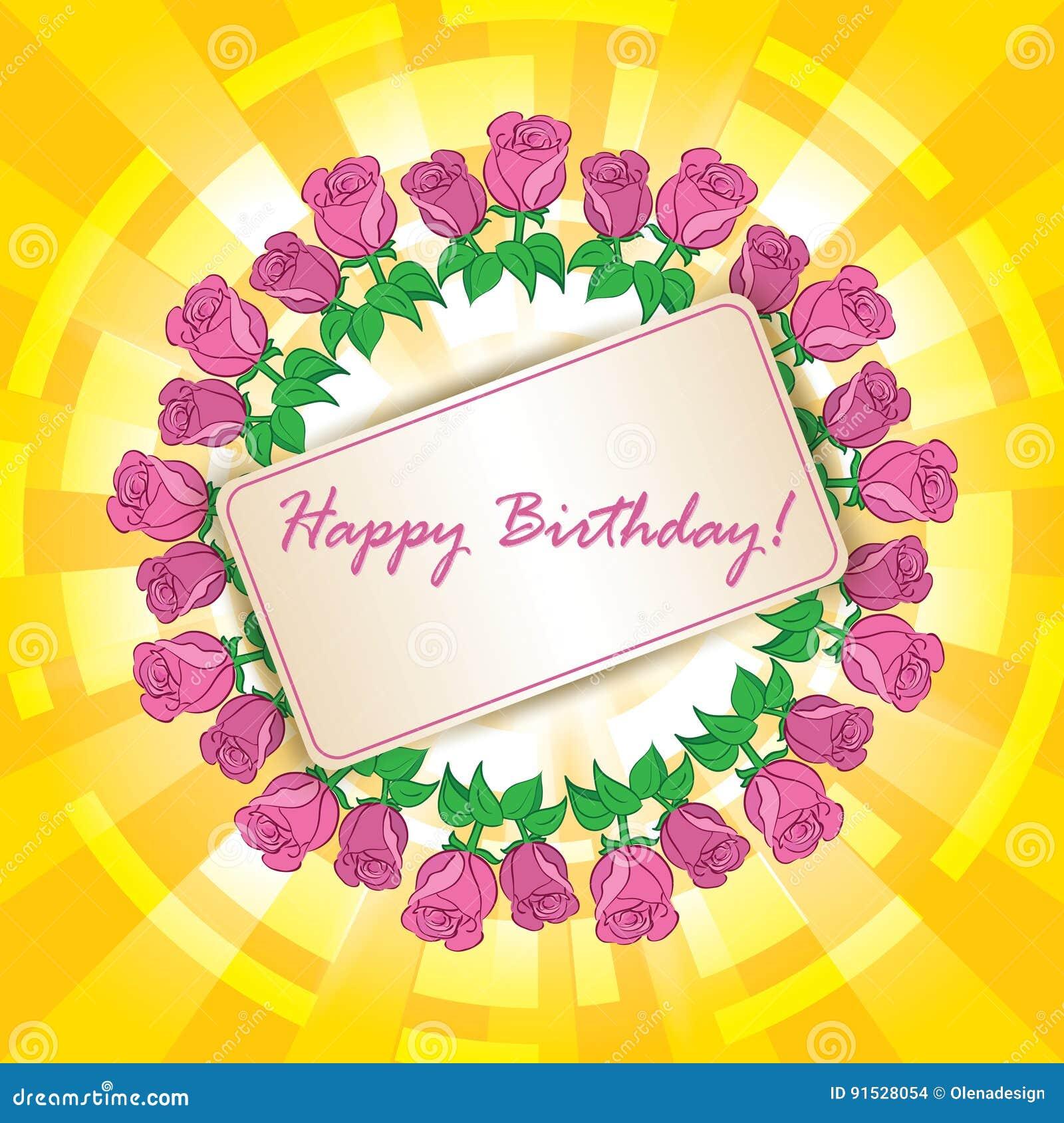 Alles Gute Zum Geburtstag Vector Grusskarte Mit Rahmen Von Rosen
