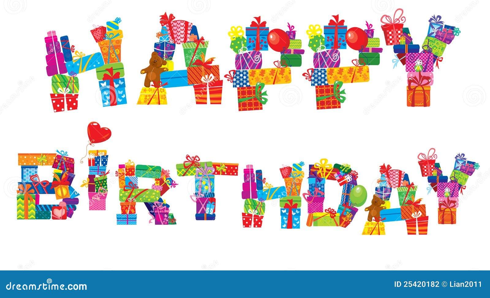 Alles Gute Zum Geburtstag Zeichen Werden Von Den Geschenkkasten