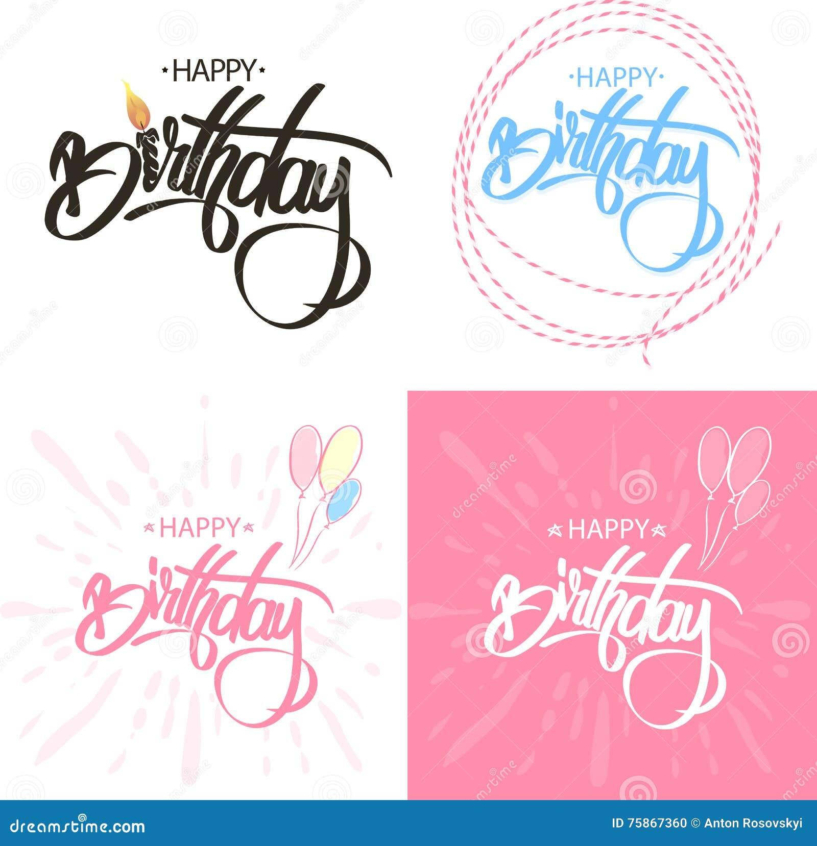 Alles- Gute zum Geburtstagbürsten-Skript-Art-Handbeschriftung Kalligraphische Phrase SAT