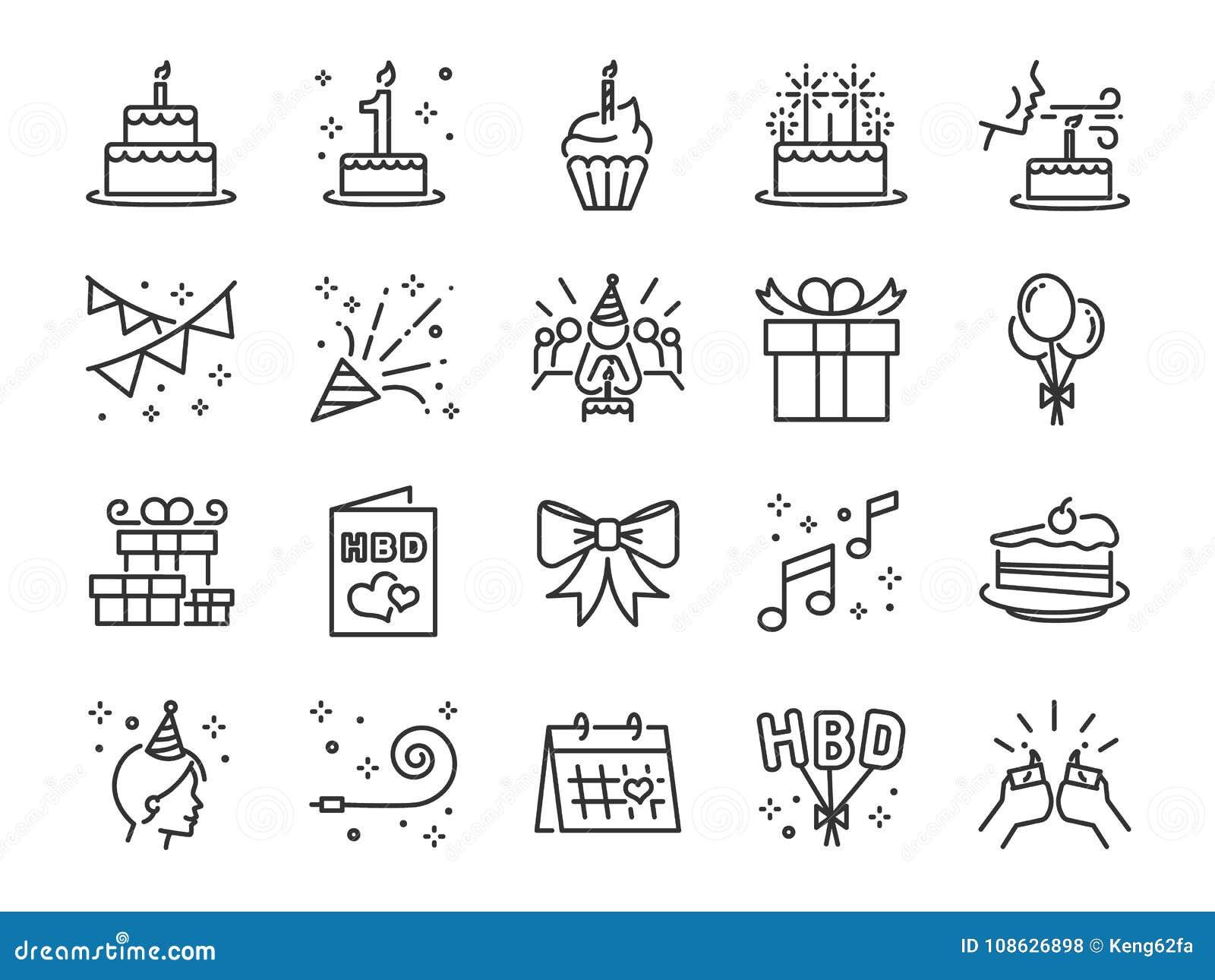 Alles- Gute zum Geburtstaggemeinschaftsikonensatz Schloss die Ikonen als Feier, Jahrestag, Partei, Glückwunsch, Kuchen, Geschenk,
