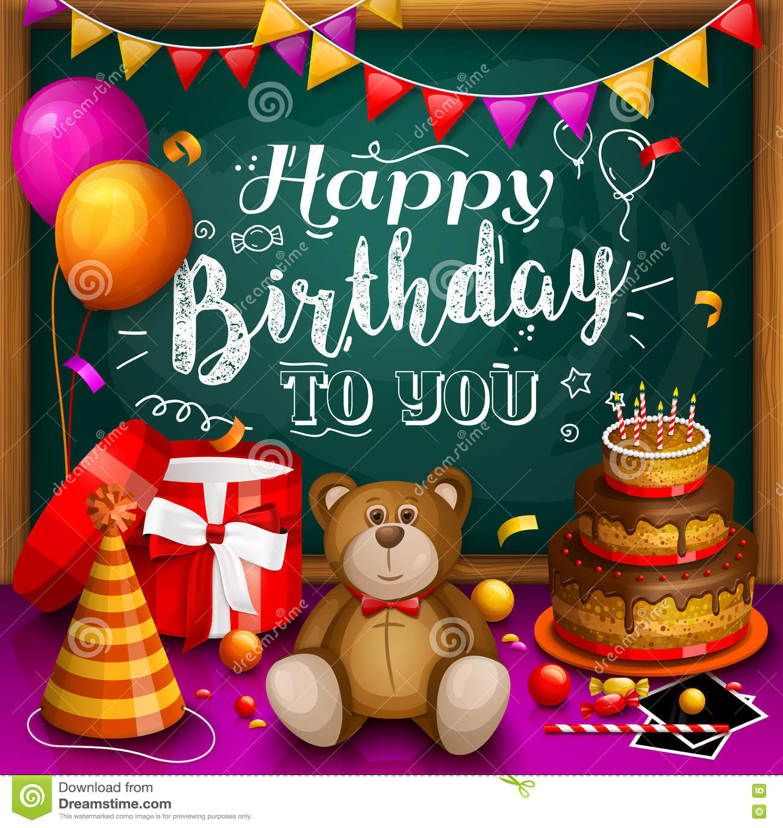 Alles Gute Zum Geburtstaggrußkarte Bunter Geschenk-Kasten Viele ...