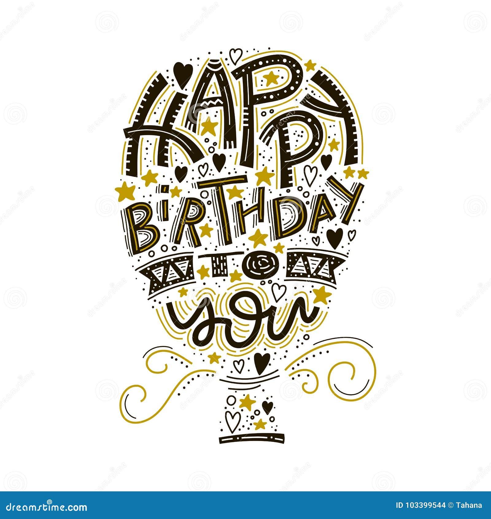 Alles- Gute Zum Geburtstaggrußkartenbeschriftung Hand Gezeichnete ...