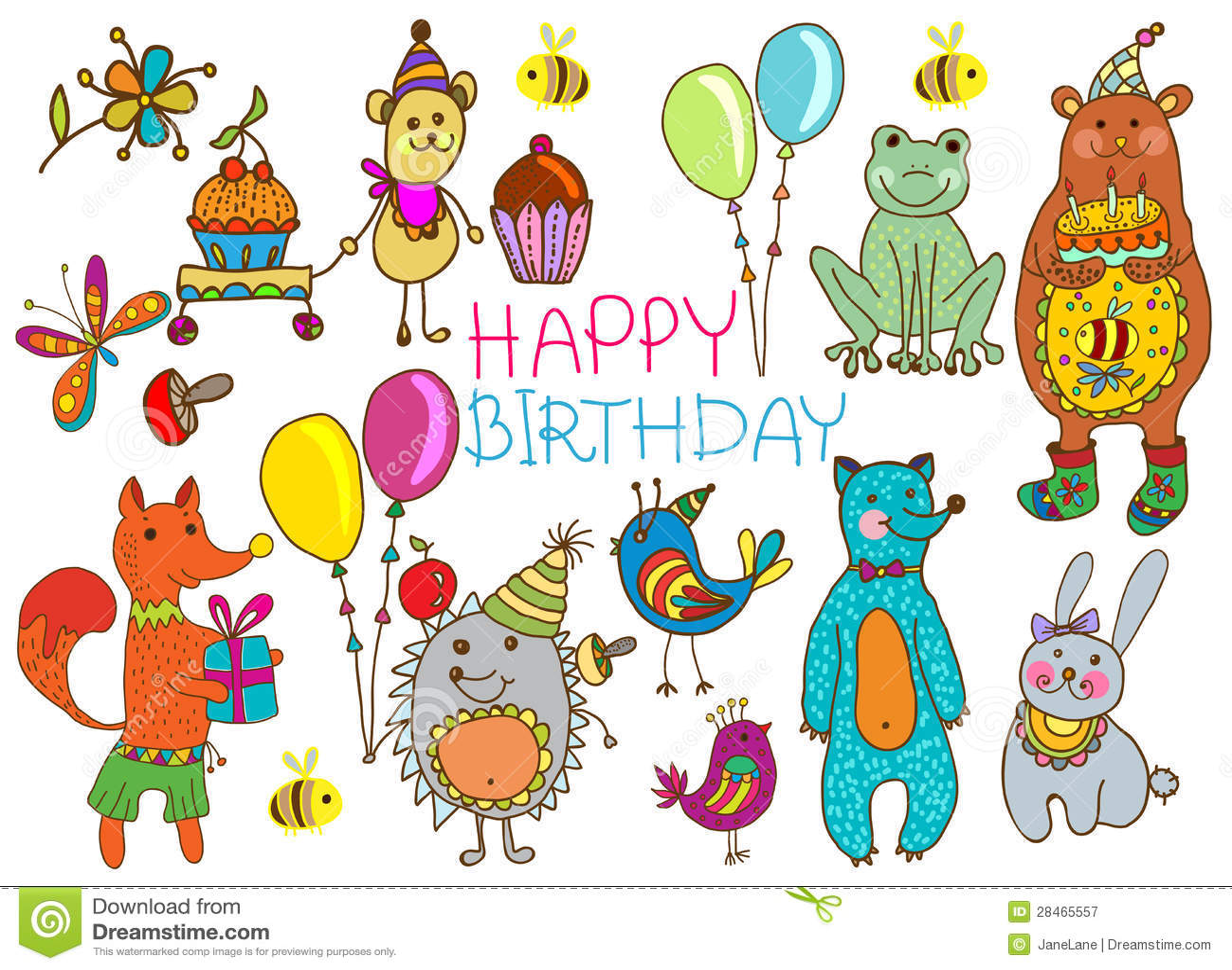Alles Gute Zum Geburtstagkarikaturkarte Vektor Abbildung