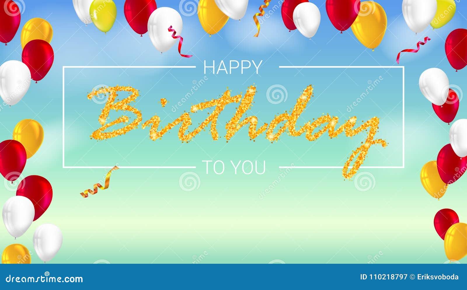 Alles- Gute Zum Geburtstagplakat Mit Glänzenden Farbigen Ballonen ...