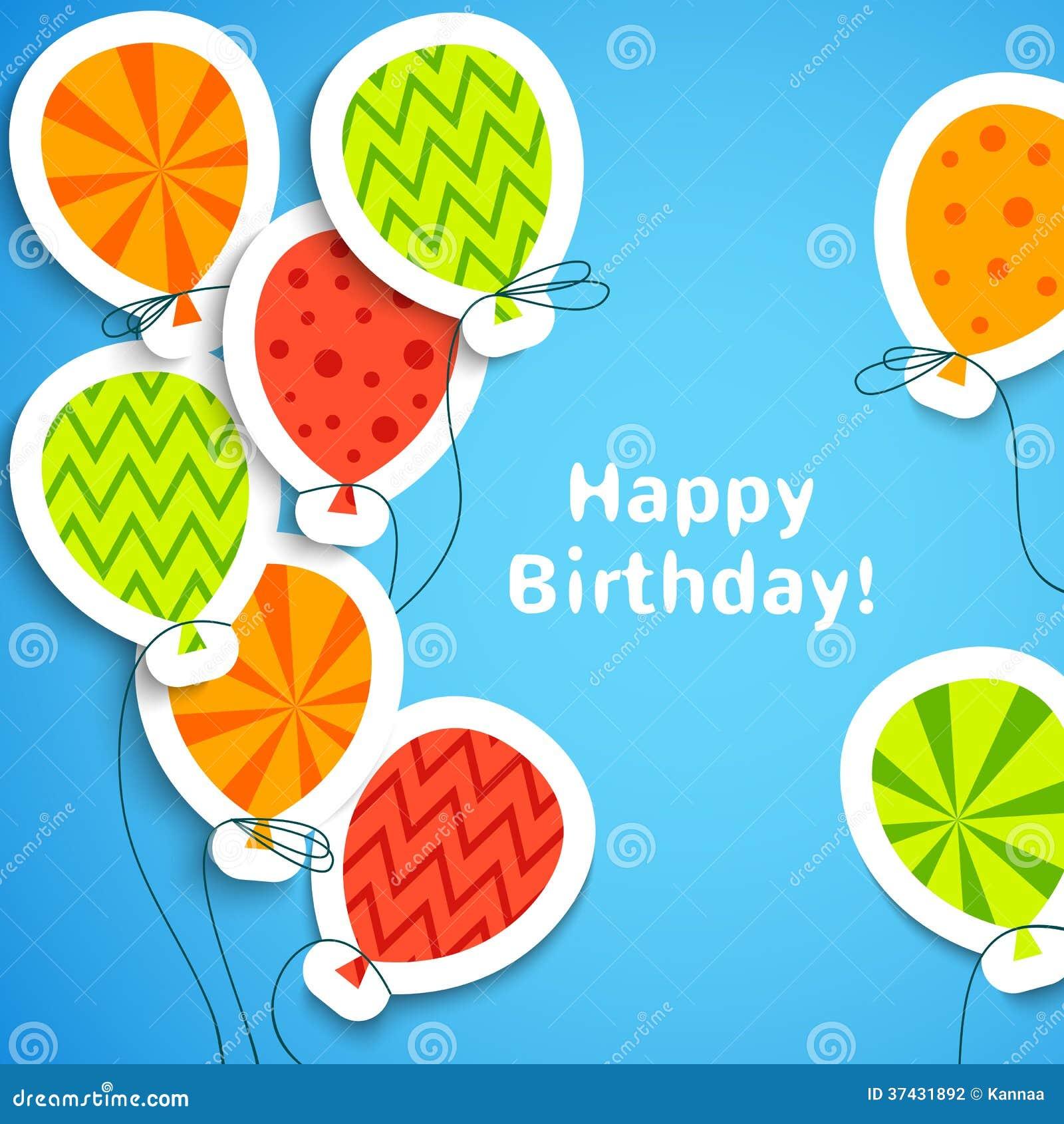 Alles- Gute zum Geburtstagpostkarte mit Ballonen. Vektor