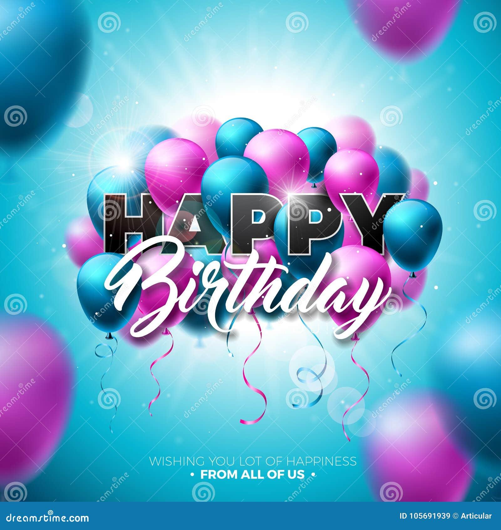 Alles- Gute zum Geburtstagvektor-Design mit Ballon, Typografie und Element 3d auf glänzendem blauer Himmel-Hintergrund Illustrati