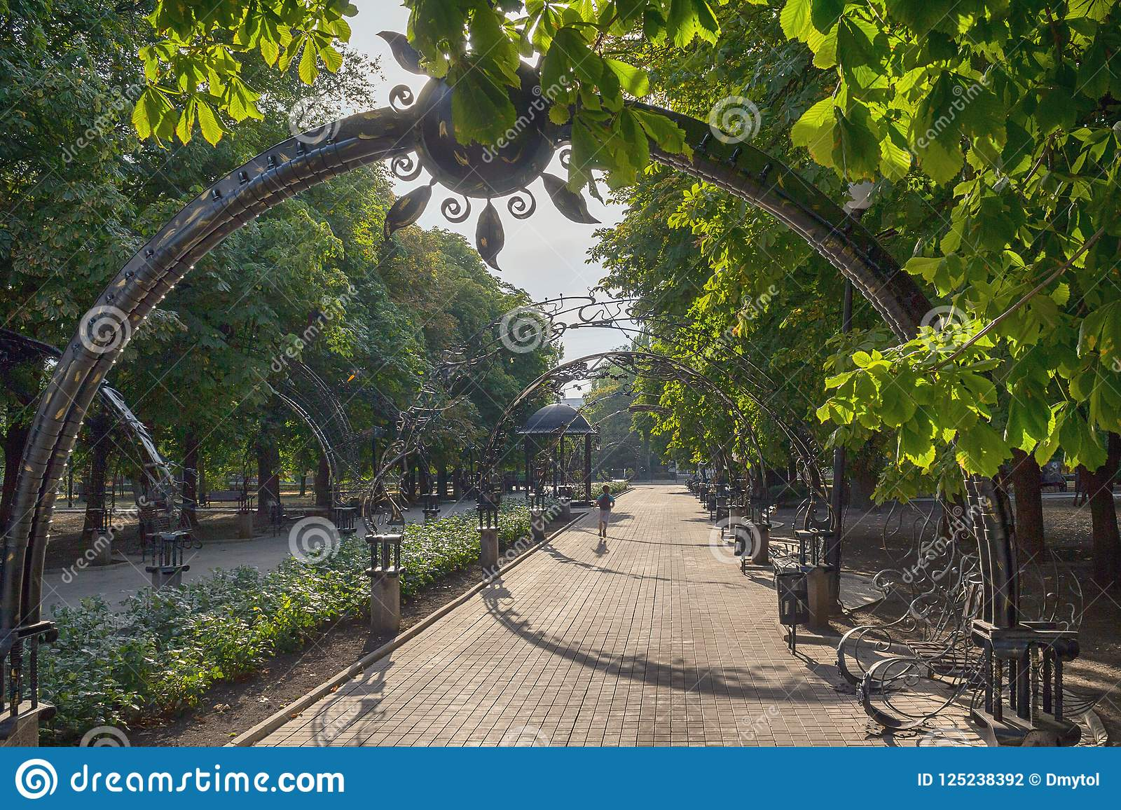 Alley Arches In The Park Of Forged Figures. Donetsk Stock ...
