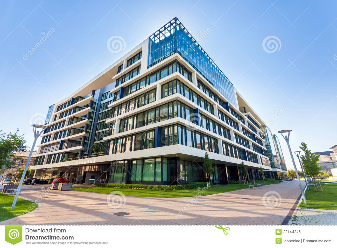 Alley with modern office buildings in budapest stock photo for Modern office area