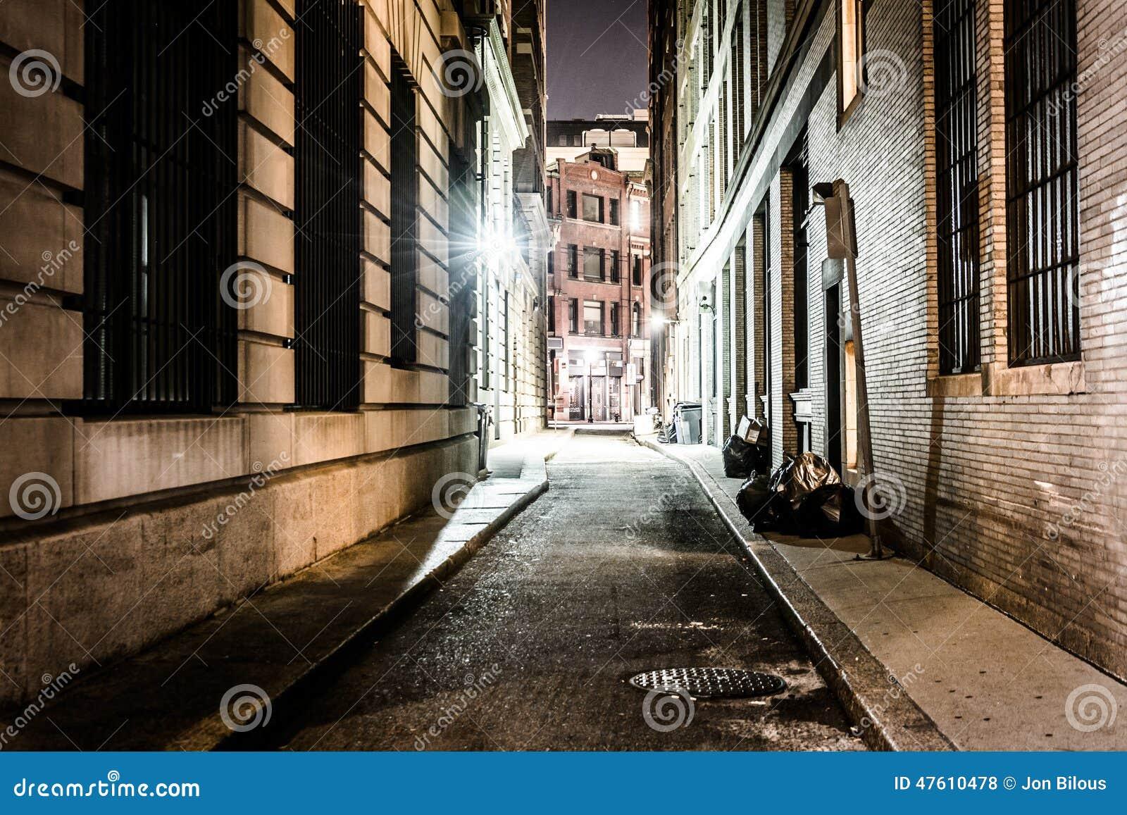 An alley at night, in Boston, Massachusetts.